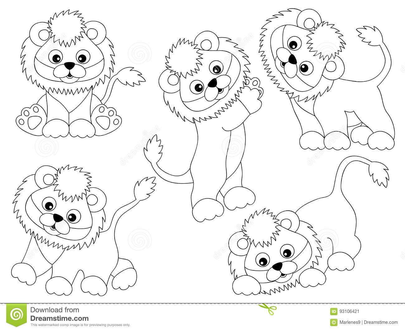 Vector Lions Set Stock Vector Illustration Of Nature