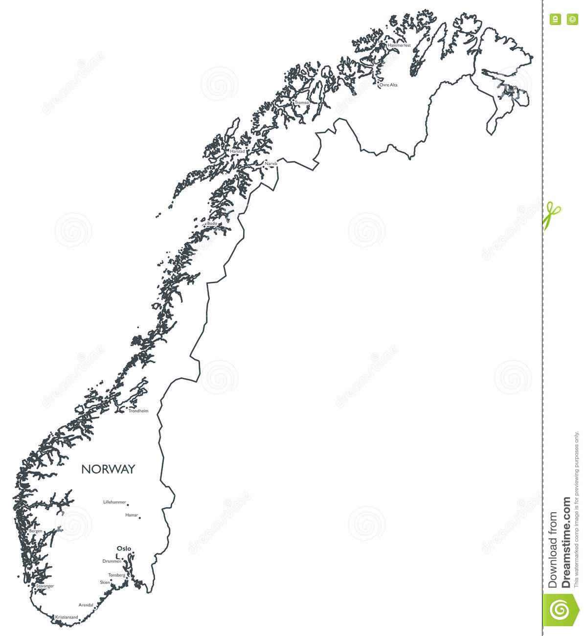 Vector Map Of Norway Stock Vector Image Of Lillehammer