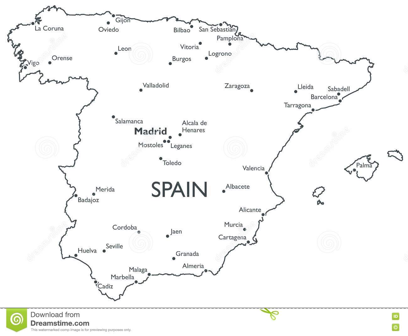 Vector Map Of Spain Stock Vector Illustration Of Cadiz