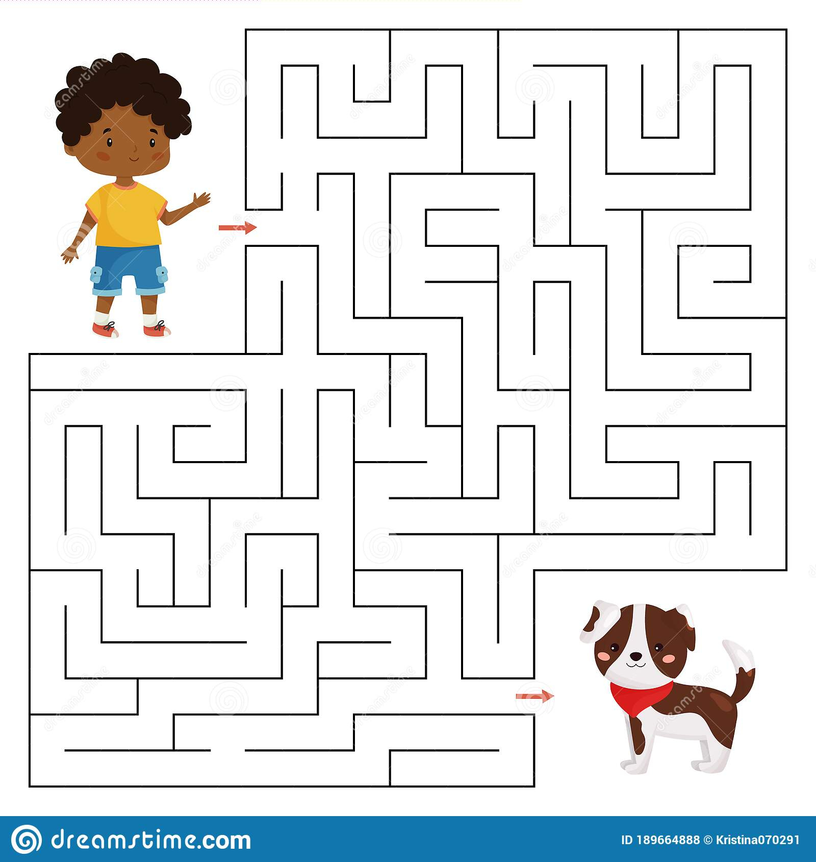 Vector Maze Game For Children Help The Boy Find Right Way