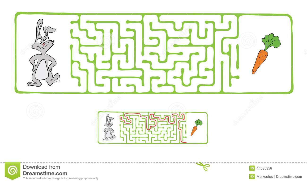 Vector Maze Labyrinth With Rabbit And Carrot Stock Vector