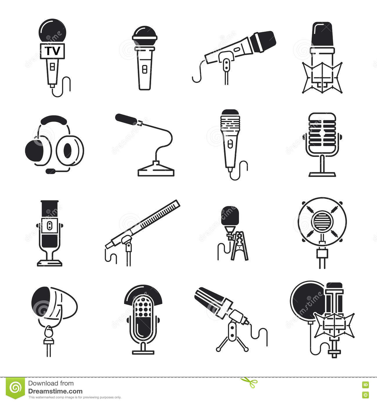 Vector Microphone Icons Stock Vector