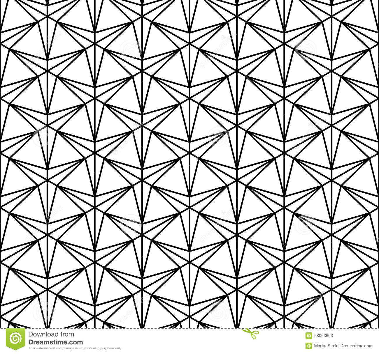 Vector Modern Seamless Geometry Pattern Three Point Star