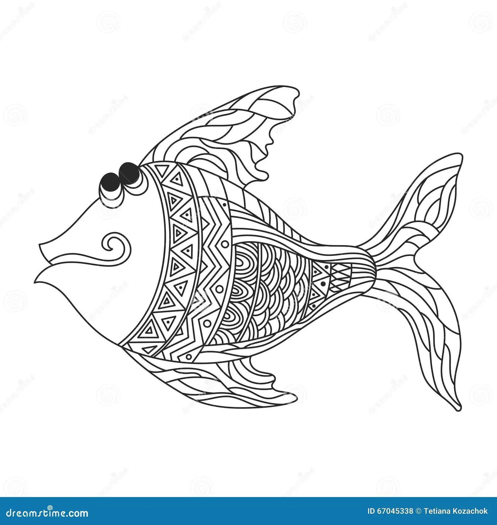 Vector Monochrome Hand Drawn Zentagle Illustration Of Cute