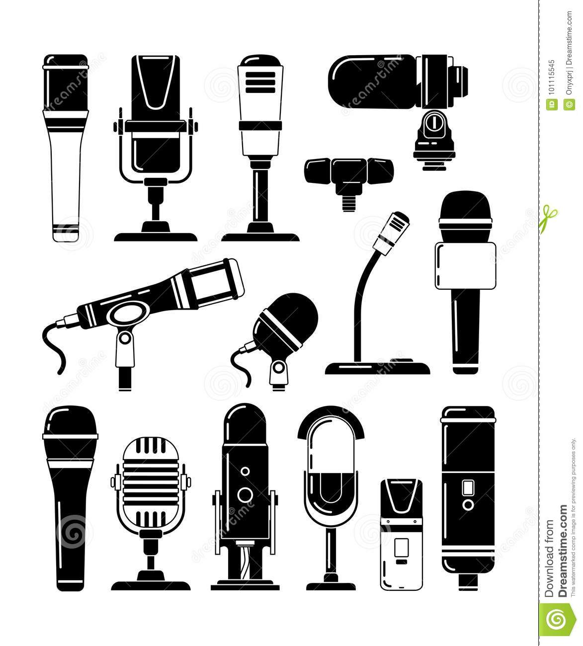 Vector Monochrome Illustrations Of Microphones And Other