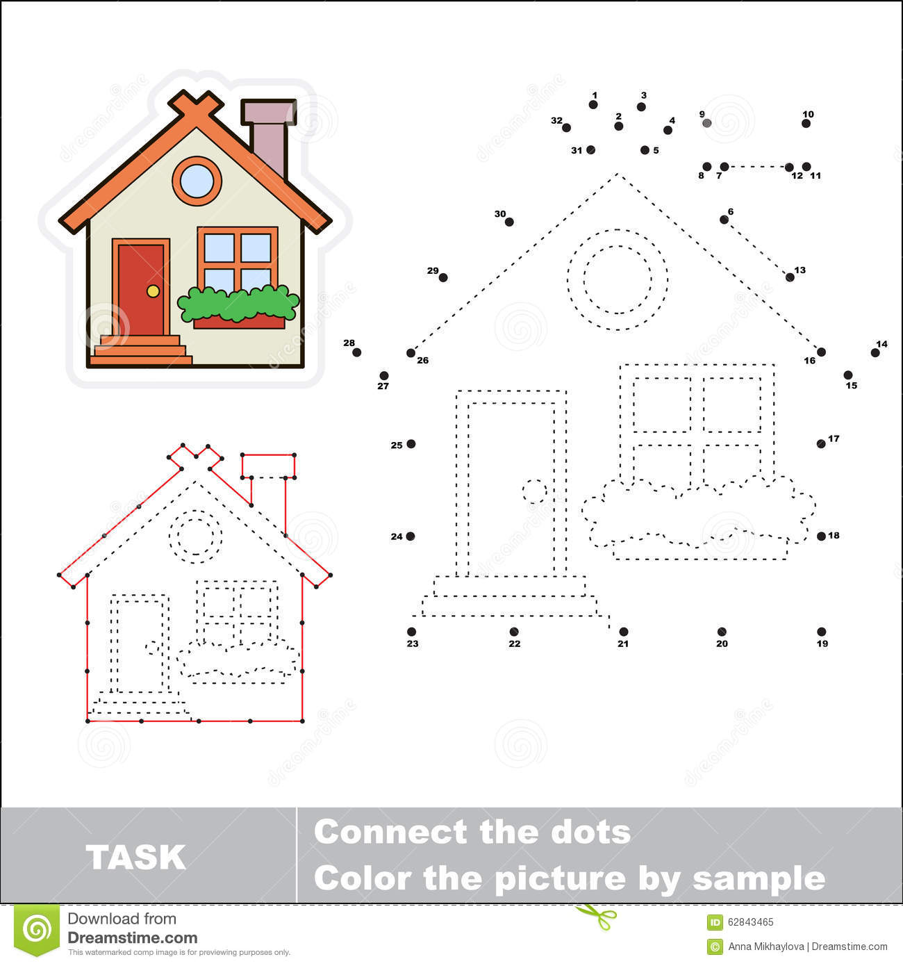 Vector Numbers Game Cute House To Be Traced Stock Vector