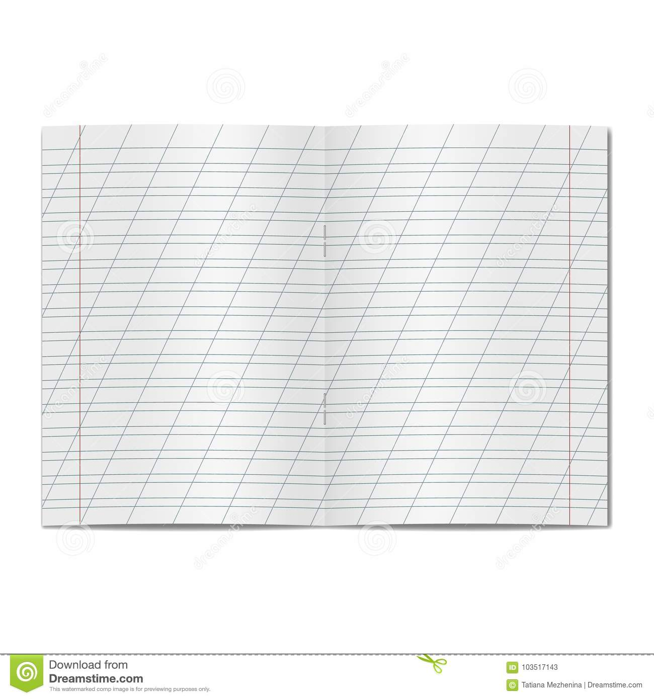 Vector Opened School Cursive Worksheet Copybook Stock