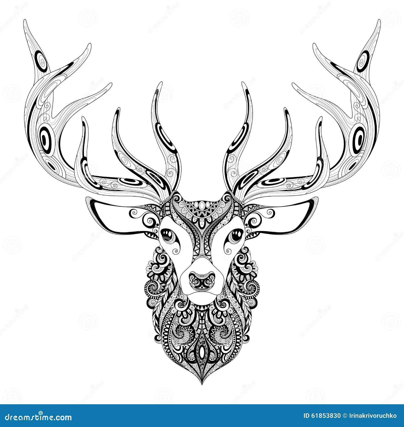 Vector Ornate Deer Horned Head Stock Vector