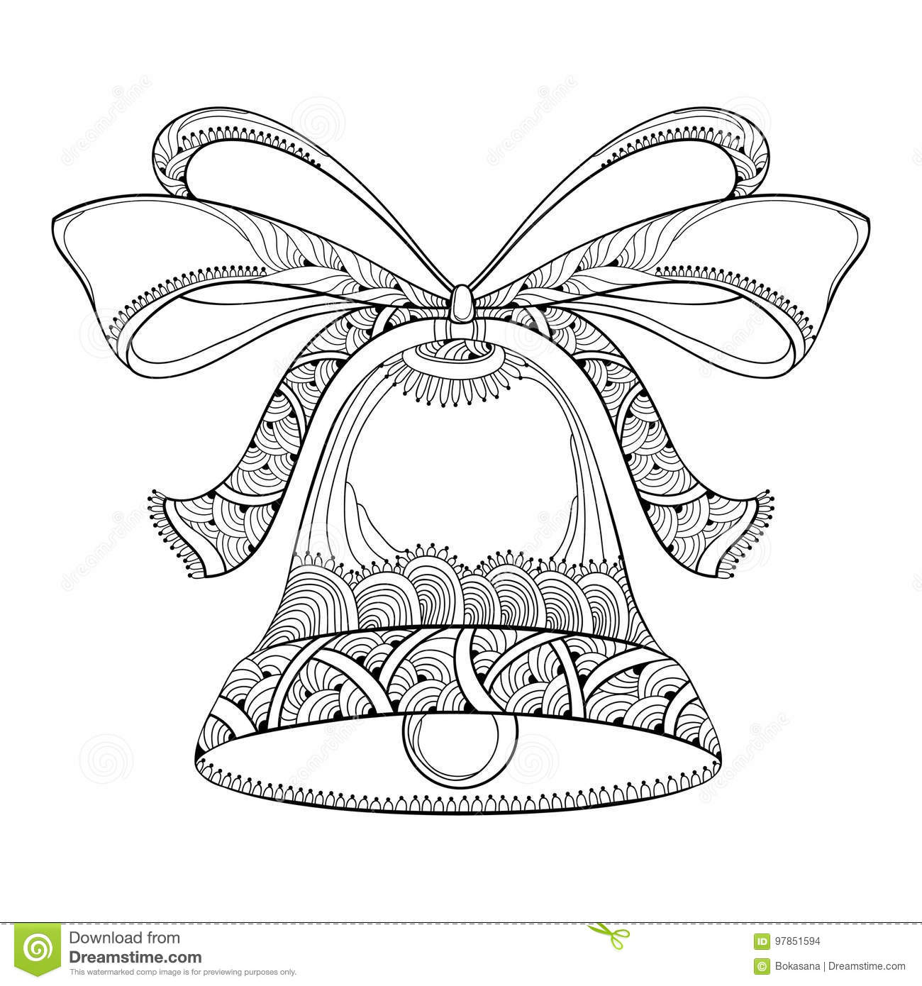 Vector Outline Holiday Bell With Ornate Bow And Ribbon In Black On White Background Traditional