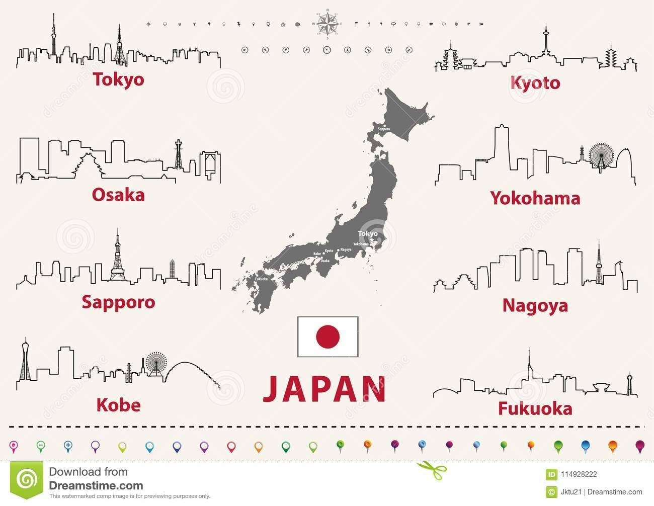 Vector Outline Icons Of Japan Cities Skylines With