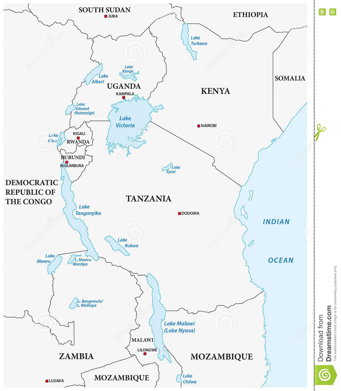 Vector Outline Map Of The African Great Lakes Stock