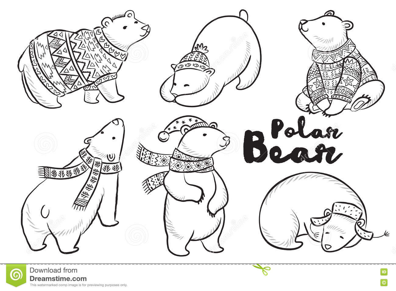 Vector Outline Set With Polar Bears Stock Vector