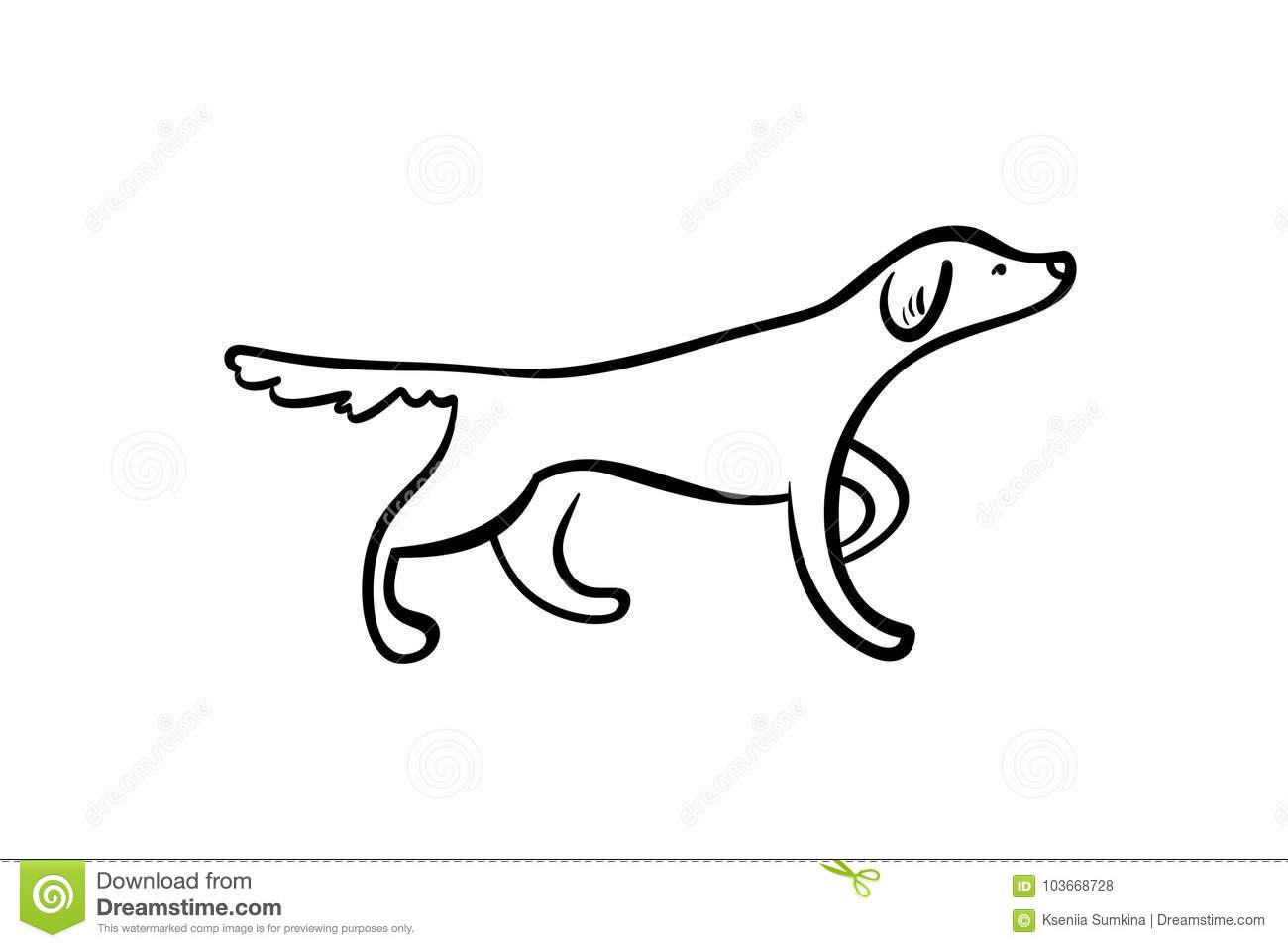 Vector Outline Staying Hunting Dog Stock Vector