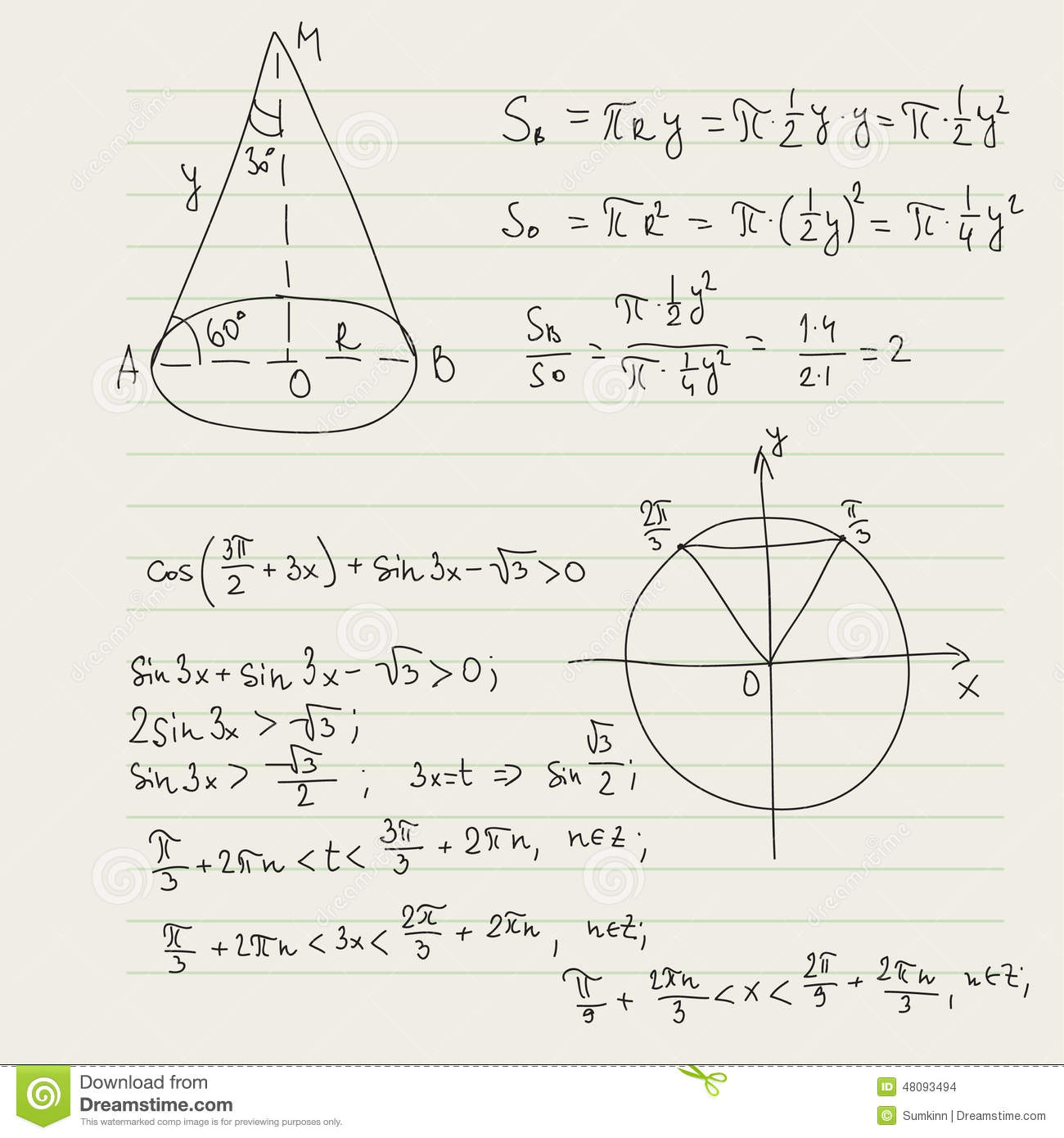 Vector Pattern With Mathematical Formulas Stock Photo