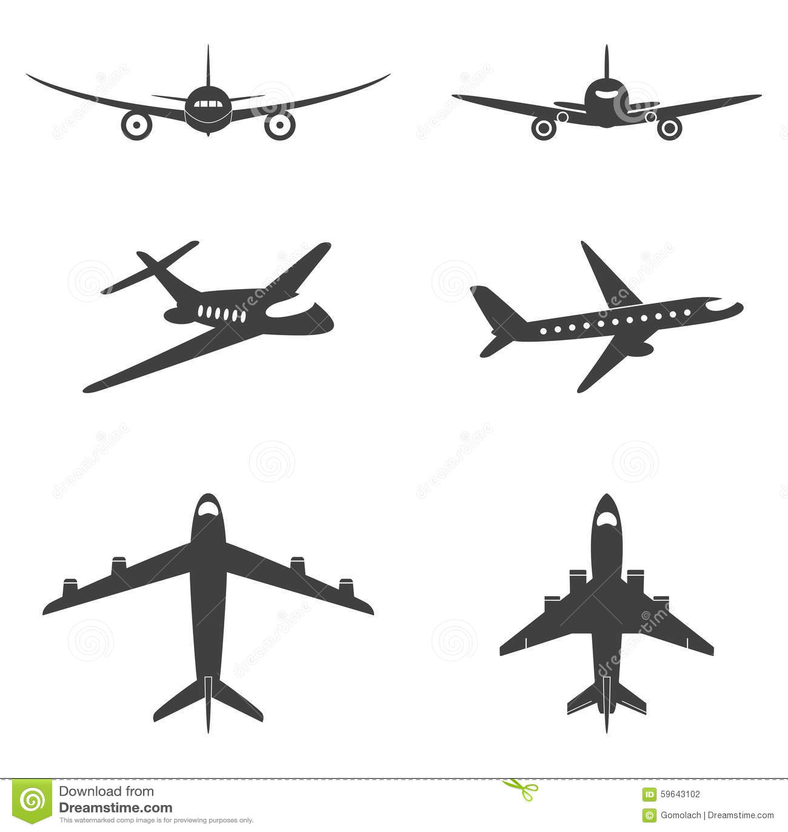 Vector Plane Icons Set Stock Vector Illustration Of Plane