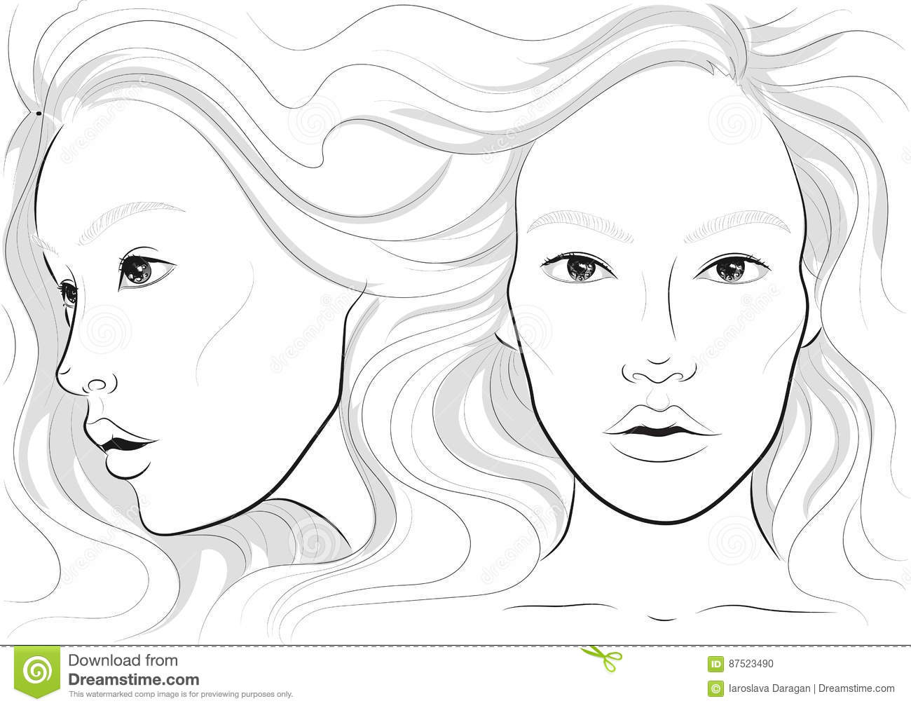 Vector Portrait Of A Woman S Profile And Full Face With Long Beautiful Hair Facechart Face