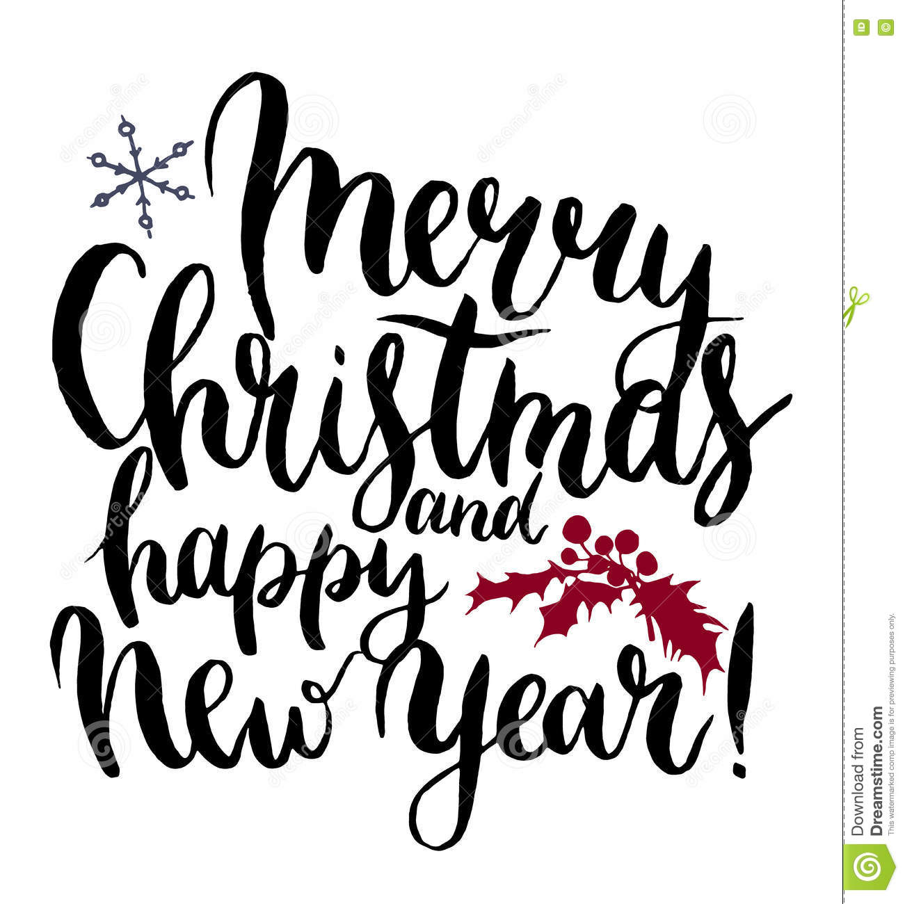 Vector Print Witn Merry Christmas And Happy New Year