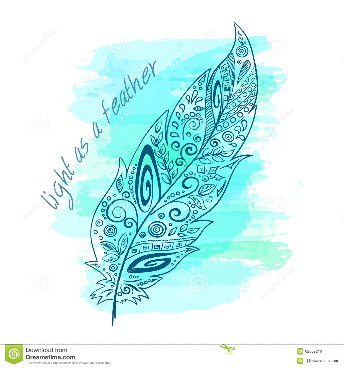 Vector Printable Illustration With Zentangle Feather On