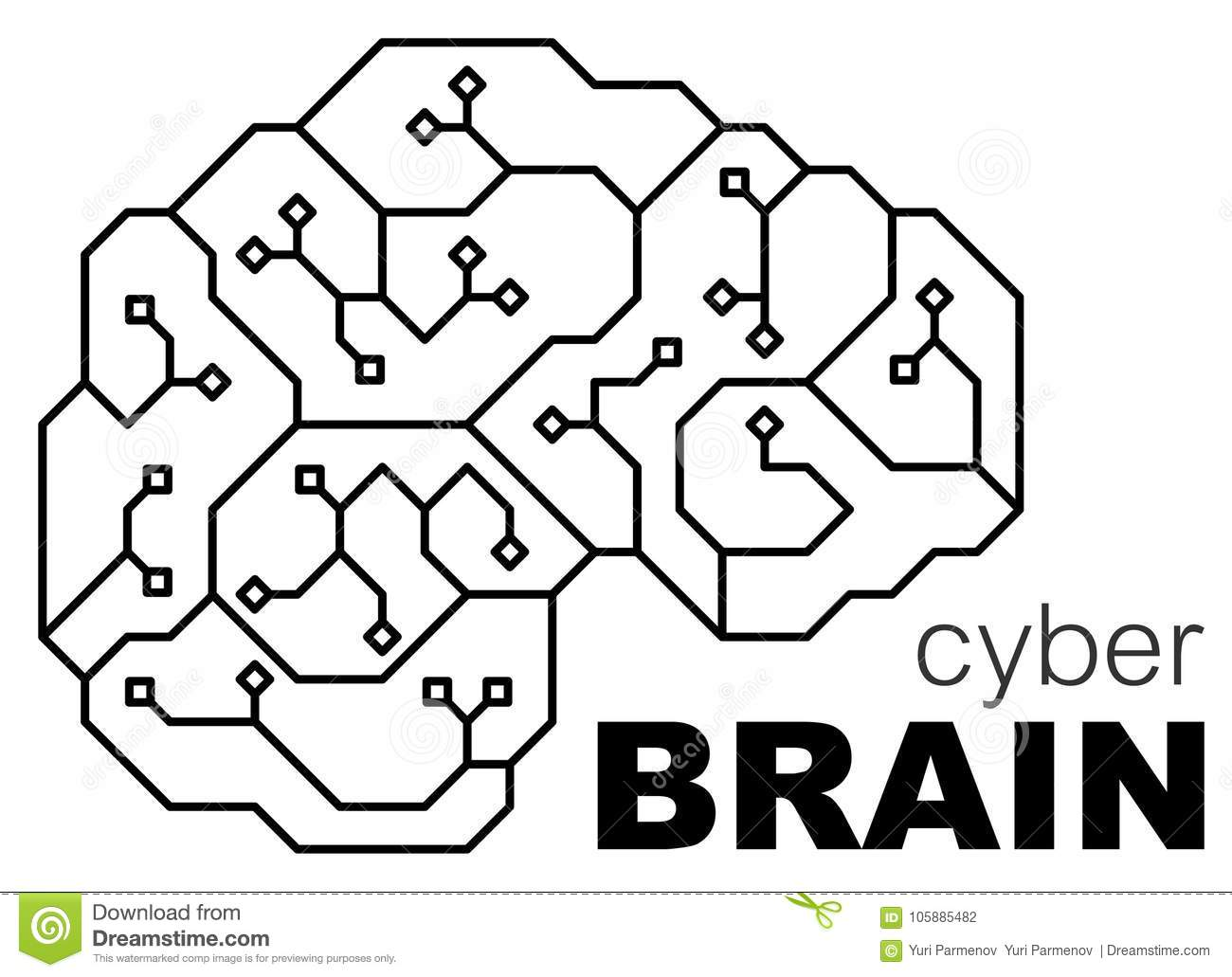 Vector Printed Circuit Board Human Brain Concept