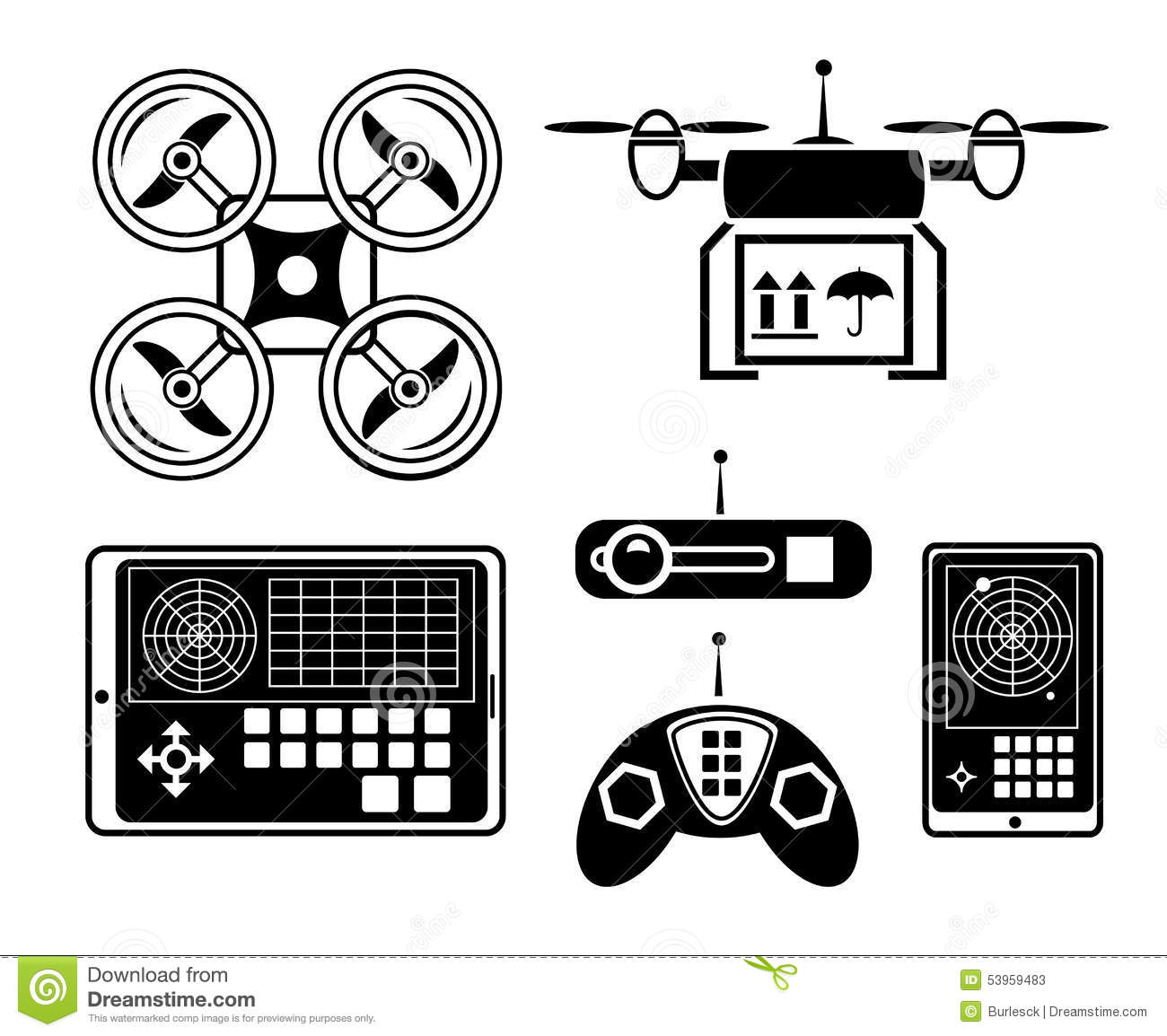 Vector Quadrocopter Or Drone Icon Set Stock Vector