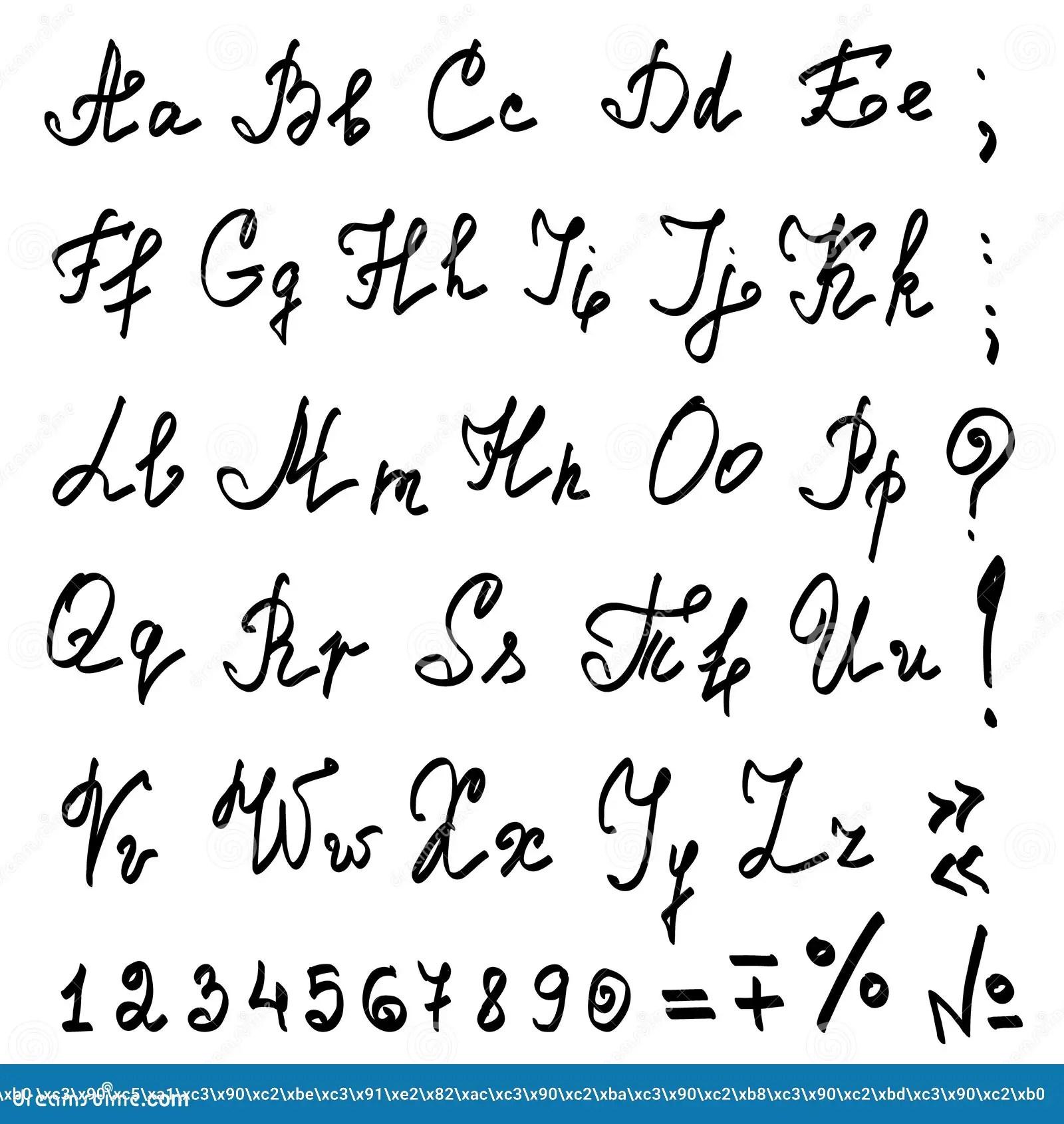 Vector Real Hand Calligraphic Alphabet Stock Vector