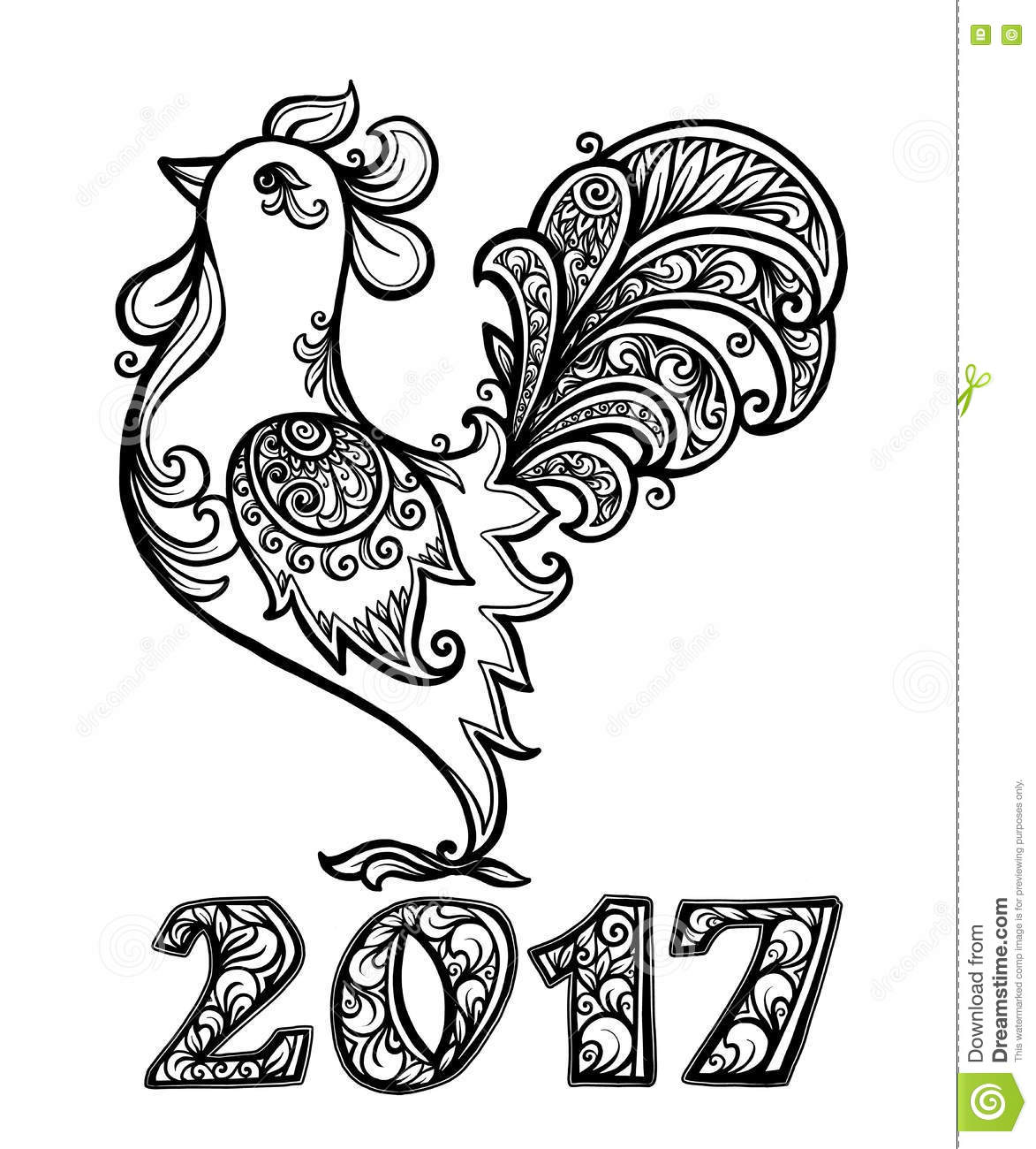 Vector Rooster In Hand Drawn Ornate Doodle Style Chinese
