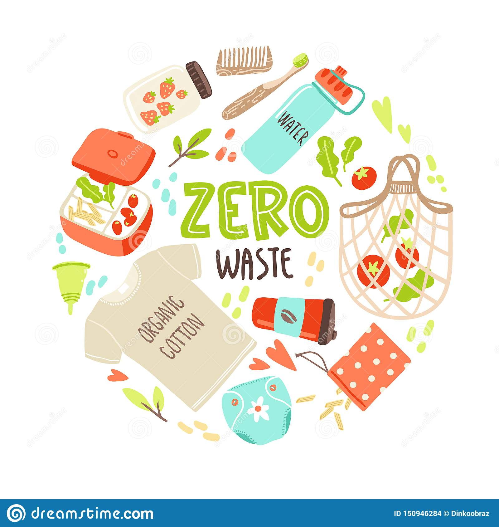 Vector Round Illustration With Hand Drawn Elements Of Zero