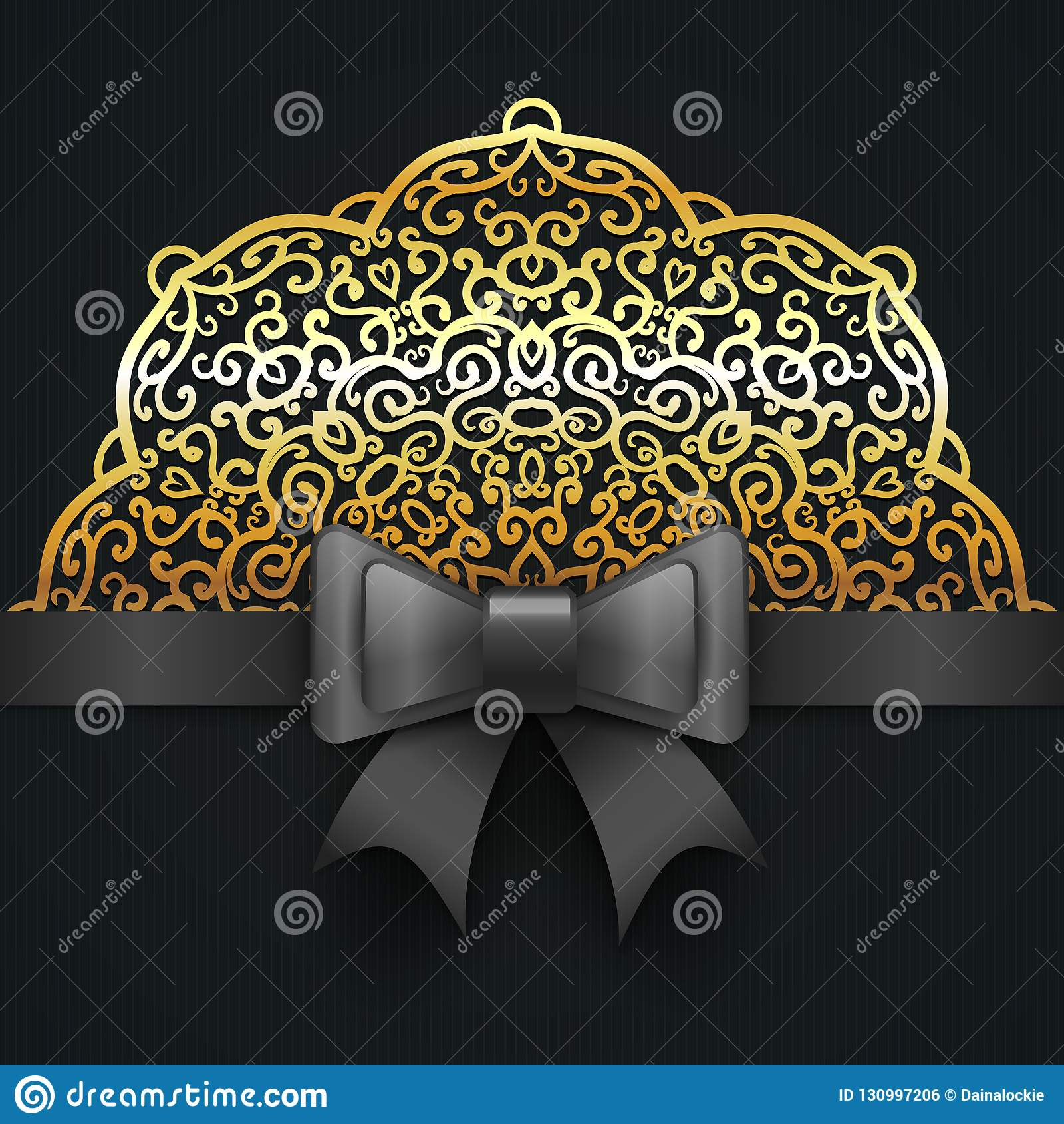 https www dreamstime com vector royal wedding invitation design vintage greeting card template black bow ribbon gold lace anniversary birthday image130997206