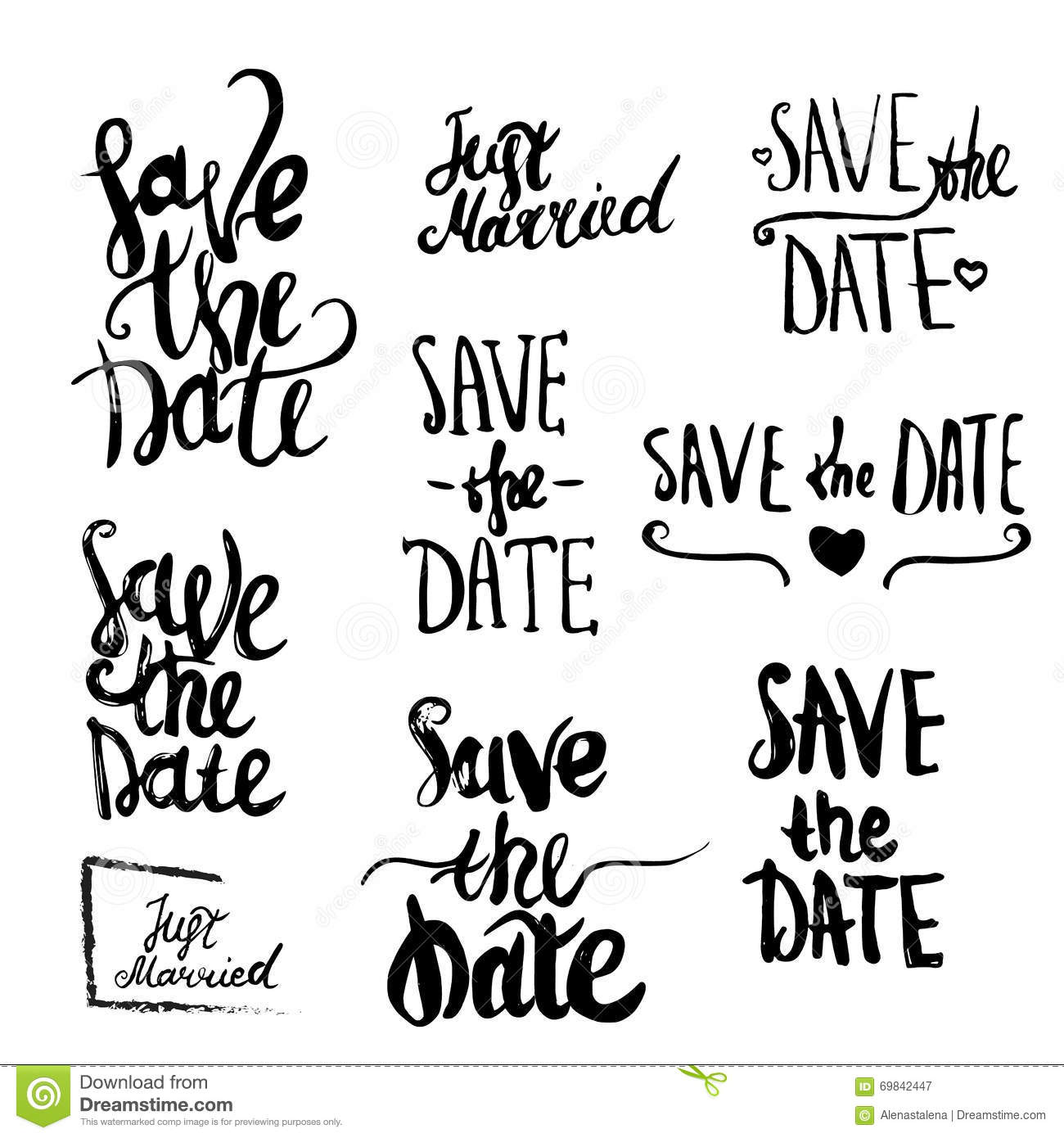 Vector Save The Date Lettering For Greeting Cards Stock