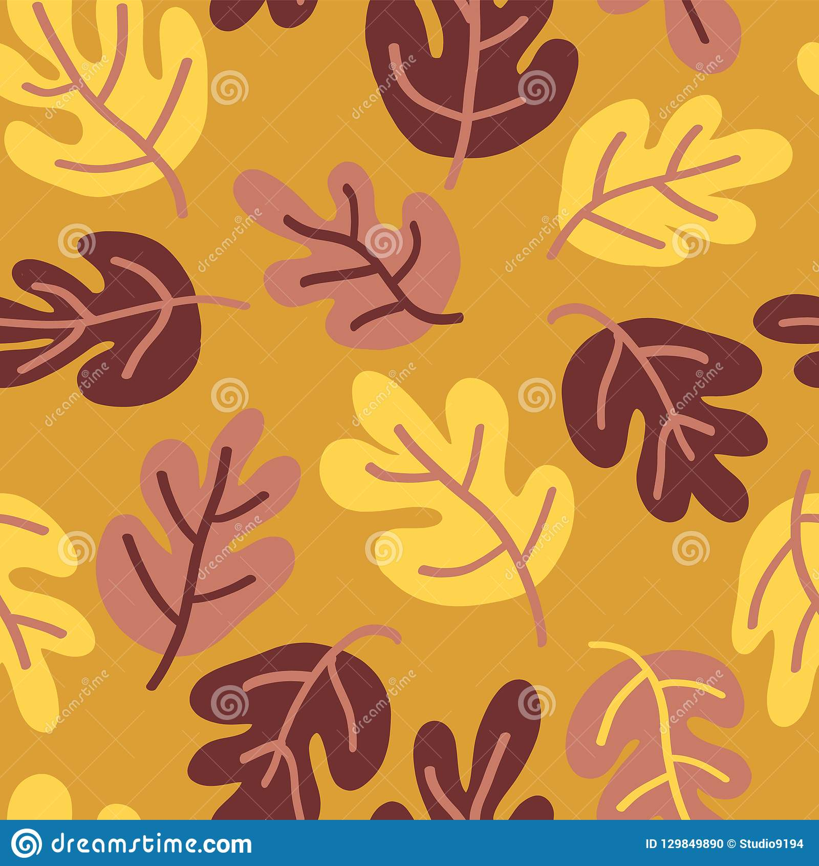 Vector Seamless Autumn Pattern Of Fall Leaves Oak Leaf