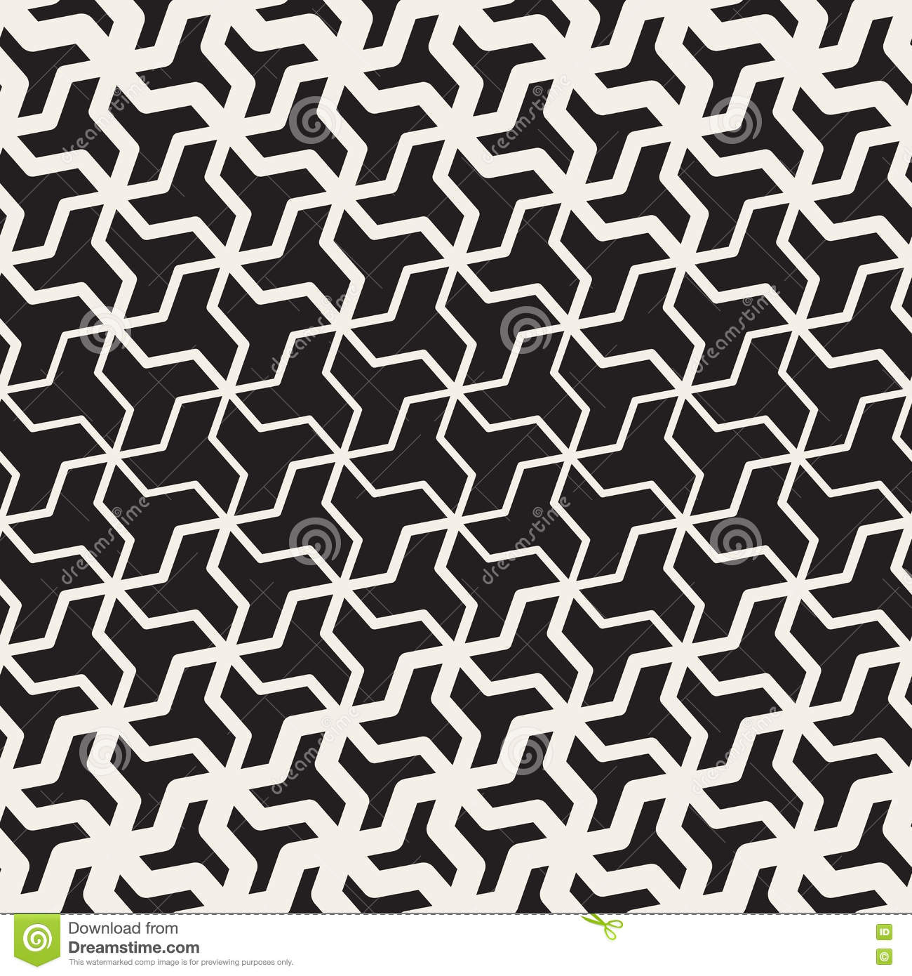 Vector Seamless Black And White Geometric Triangle Shape Tessellation Halftone Line Grid Pattern