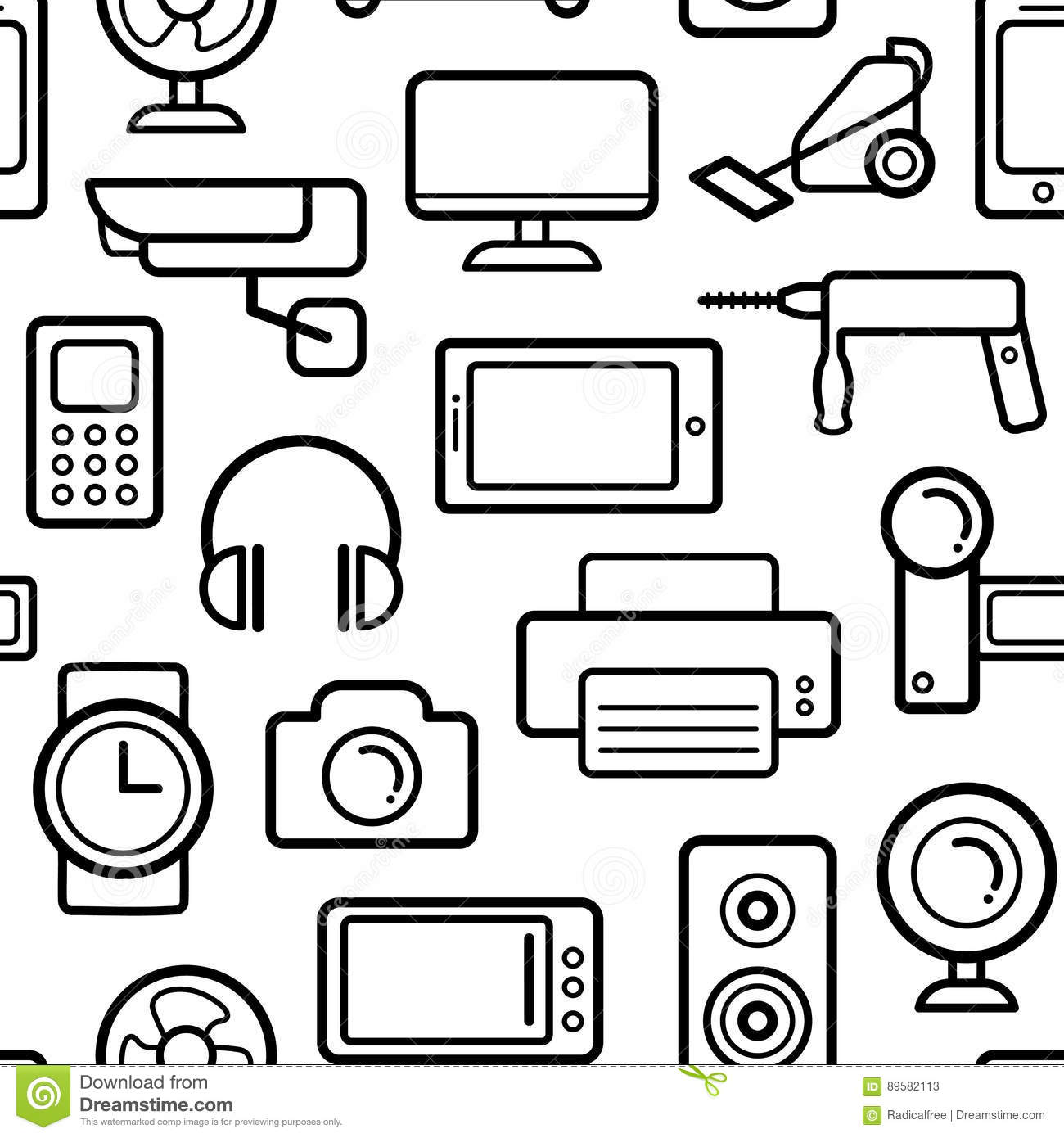 Line Art Household Cleaning Symbols Accessories Cartoon Vector