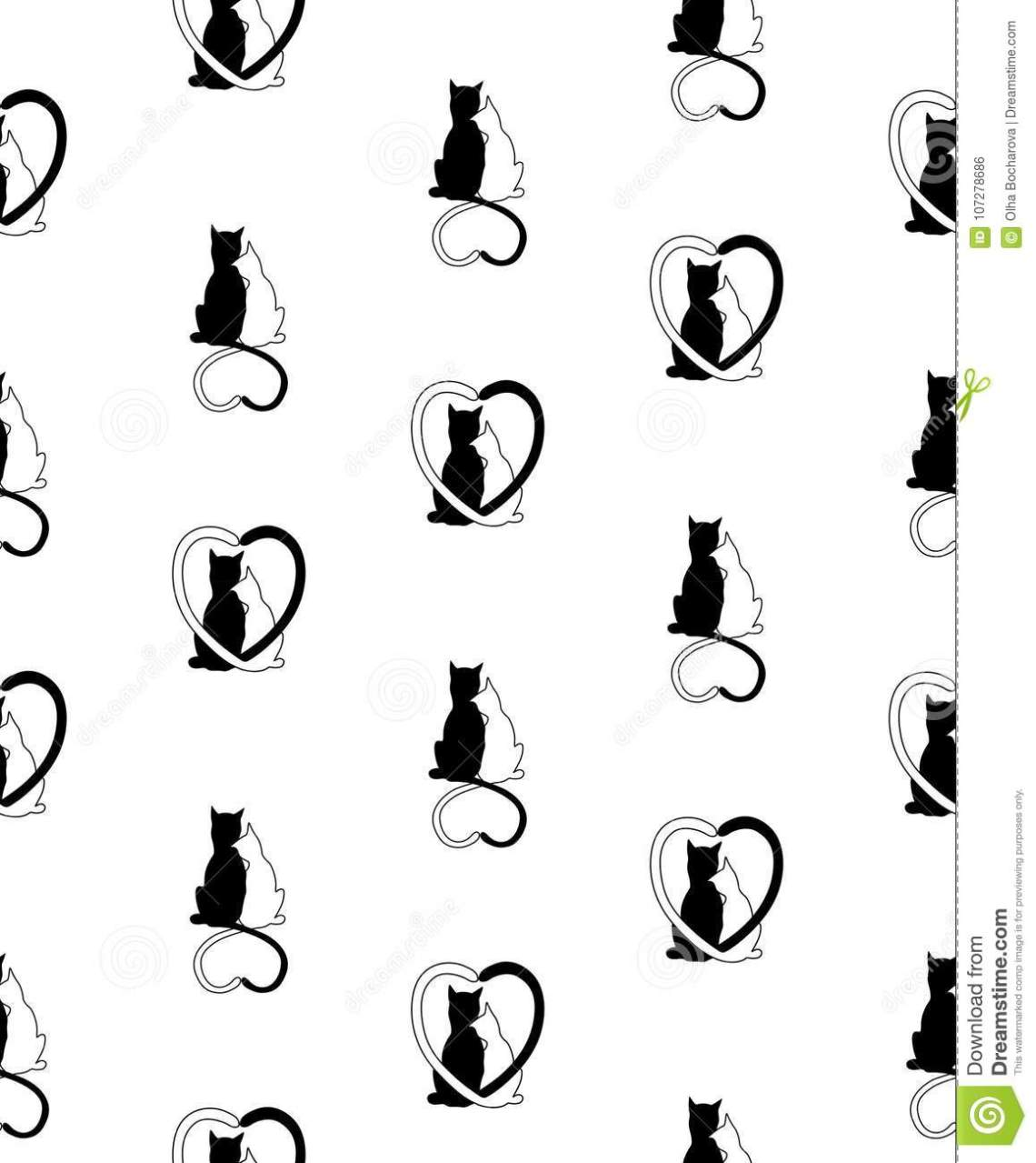 Download Vector Seamless Pattern From Silhouette Of Cat Couple In ...