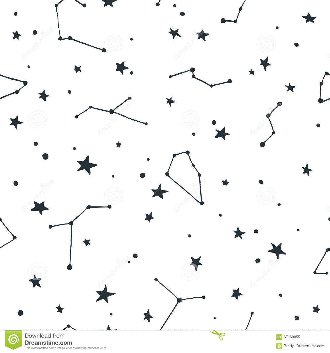Vector Seamless Pattern With Stars And Constellations