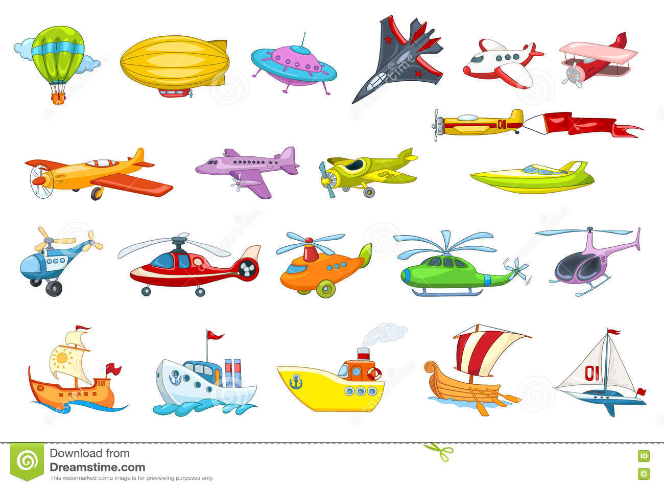 Vector Set Of Air And Water Transport Illustration Stock