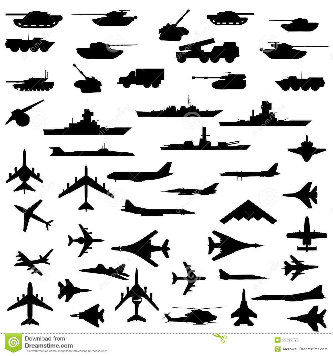 Vector Set Of Aircraft Armored Ships And Guns Royalty