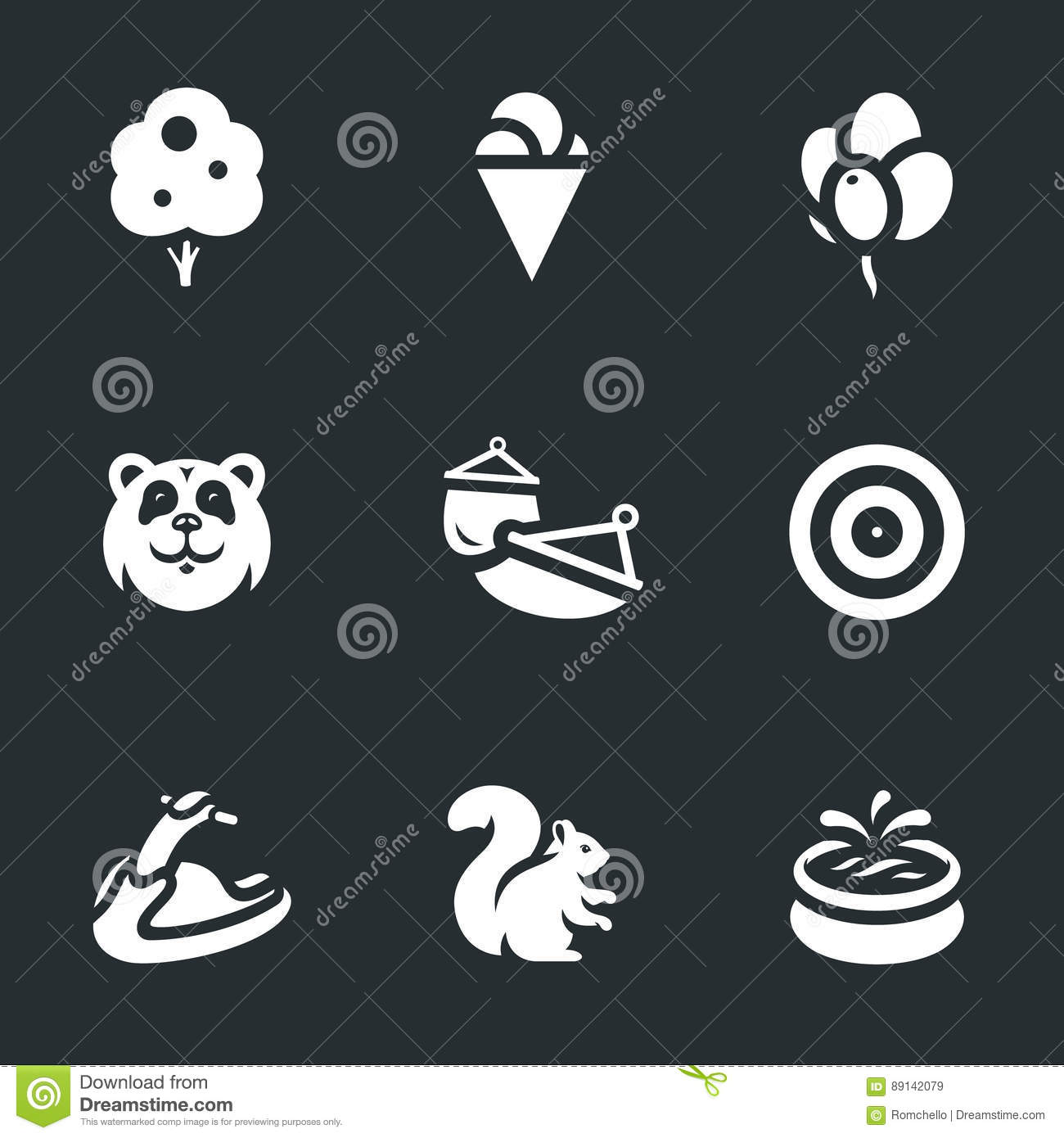 Vector Set Of Amusement Park Icons Stock Vector
