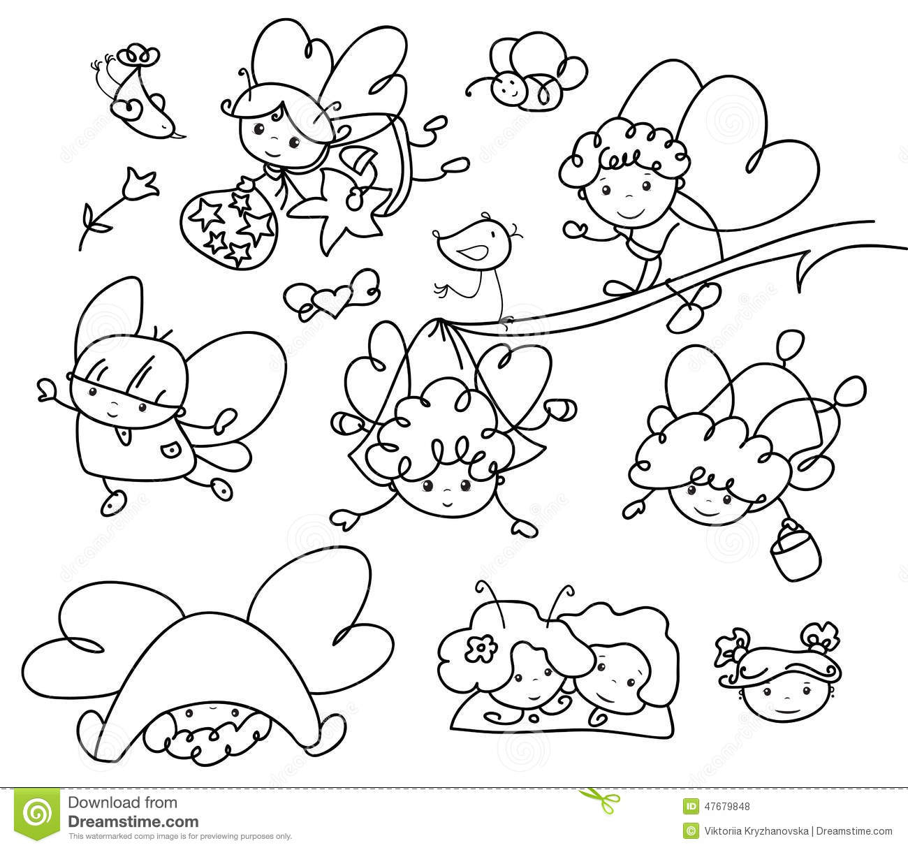 Vector Set Of Cute Angels Cartoons Silhouettes Stock