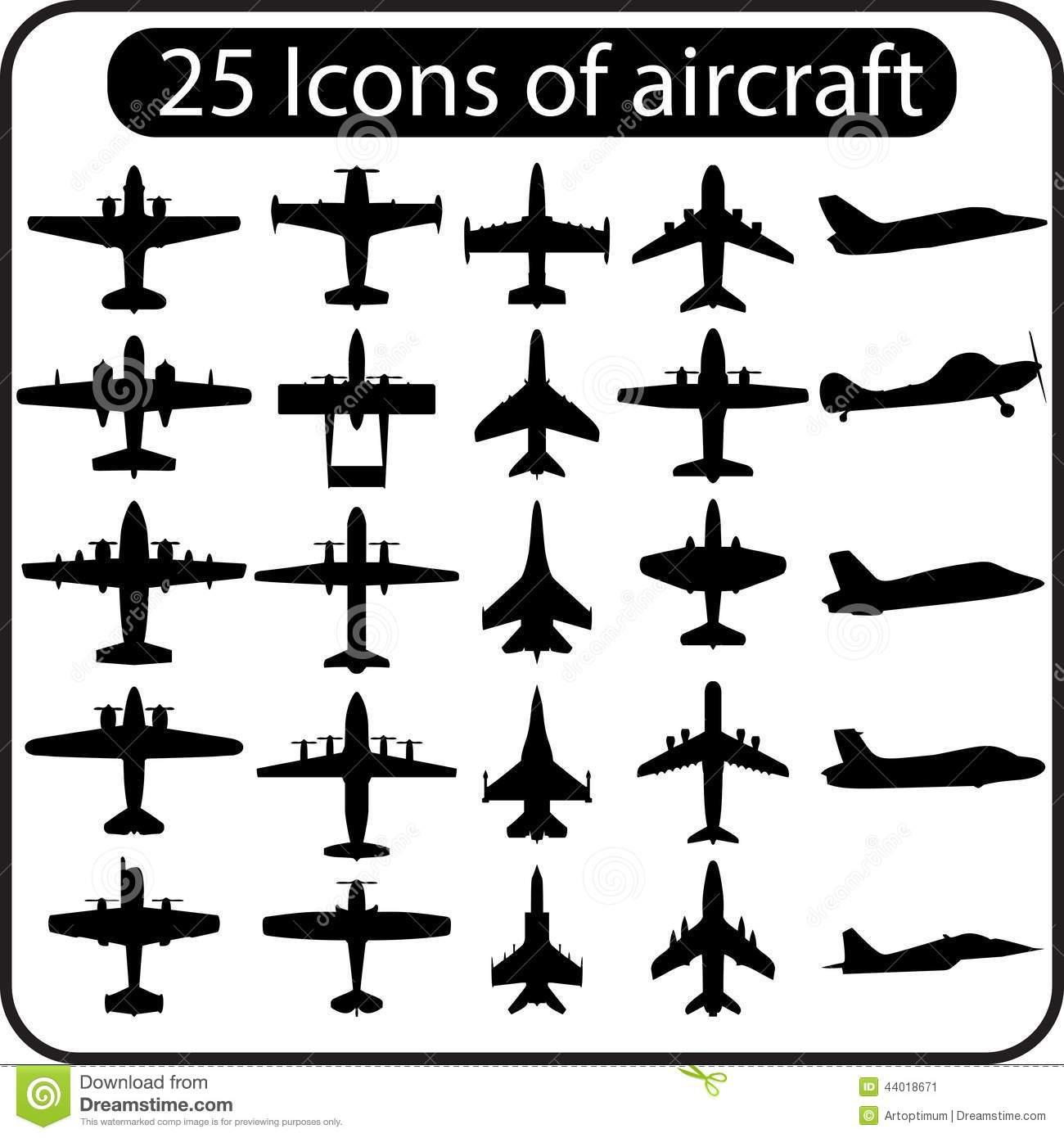 Vector Set Of Different Airplane Icons Stock Vector