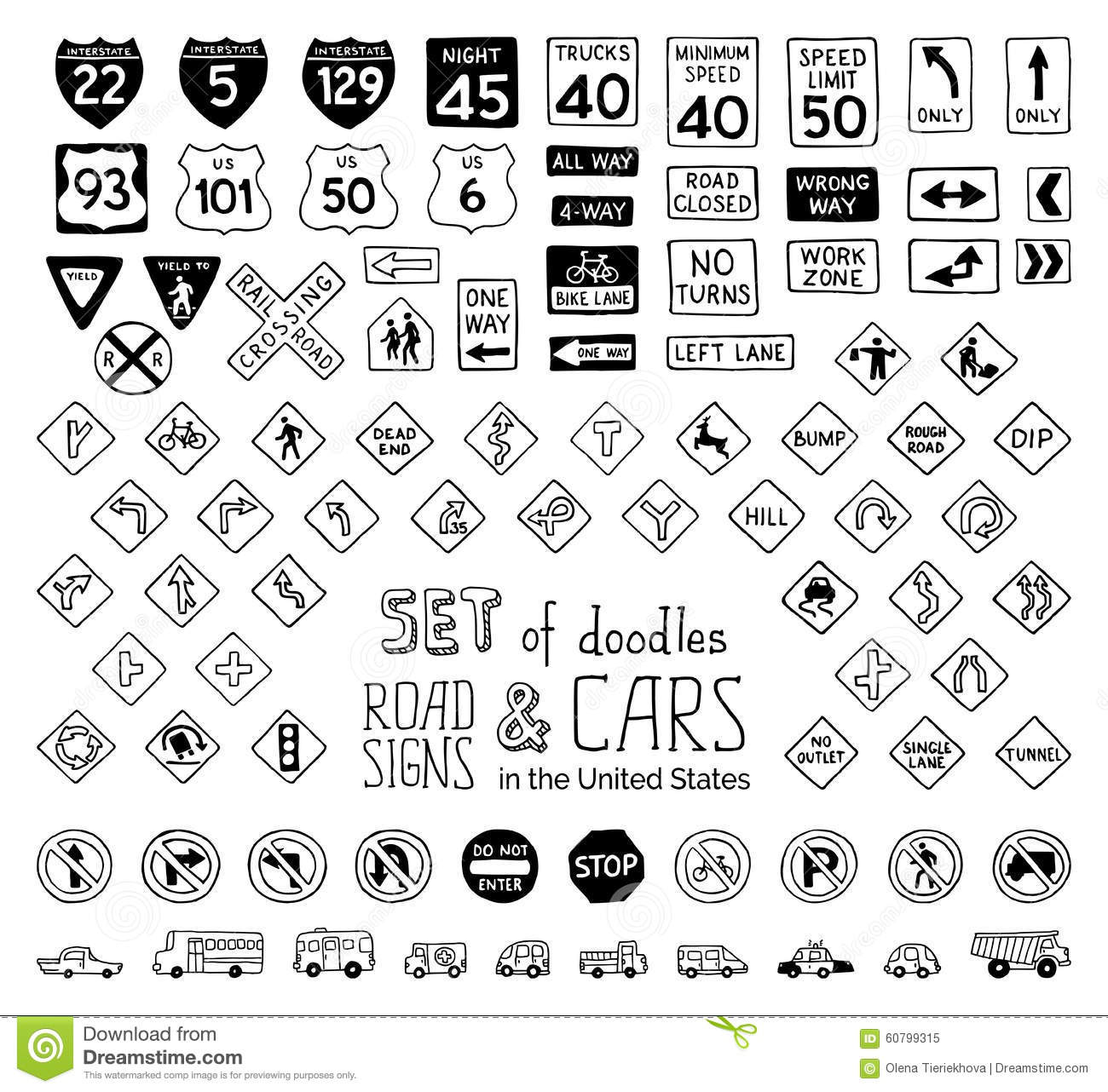 Cars Doodles Set Cartoon Vector