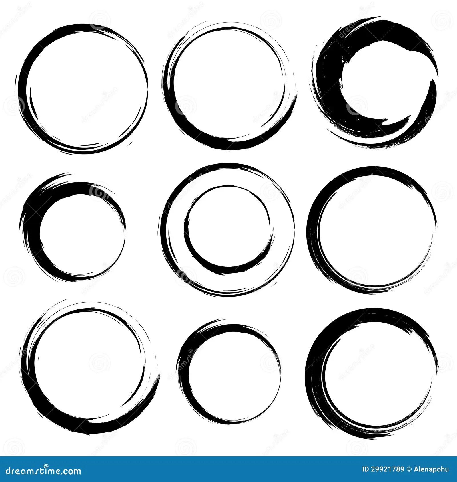 Vector Set Of Grunge Circle Brush Strokes Set 4 Stock