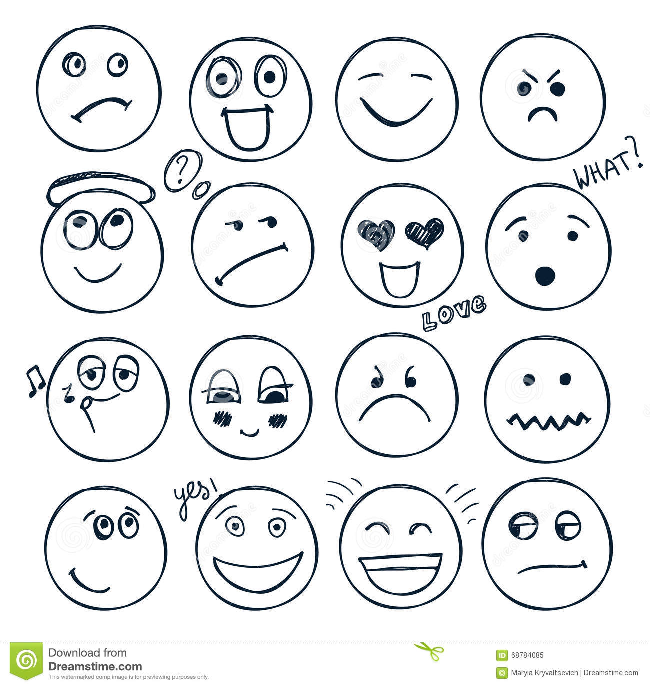 Vector Set Of Hand Drawn Faces Moods Doodle Stock