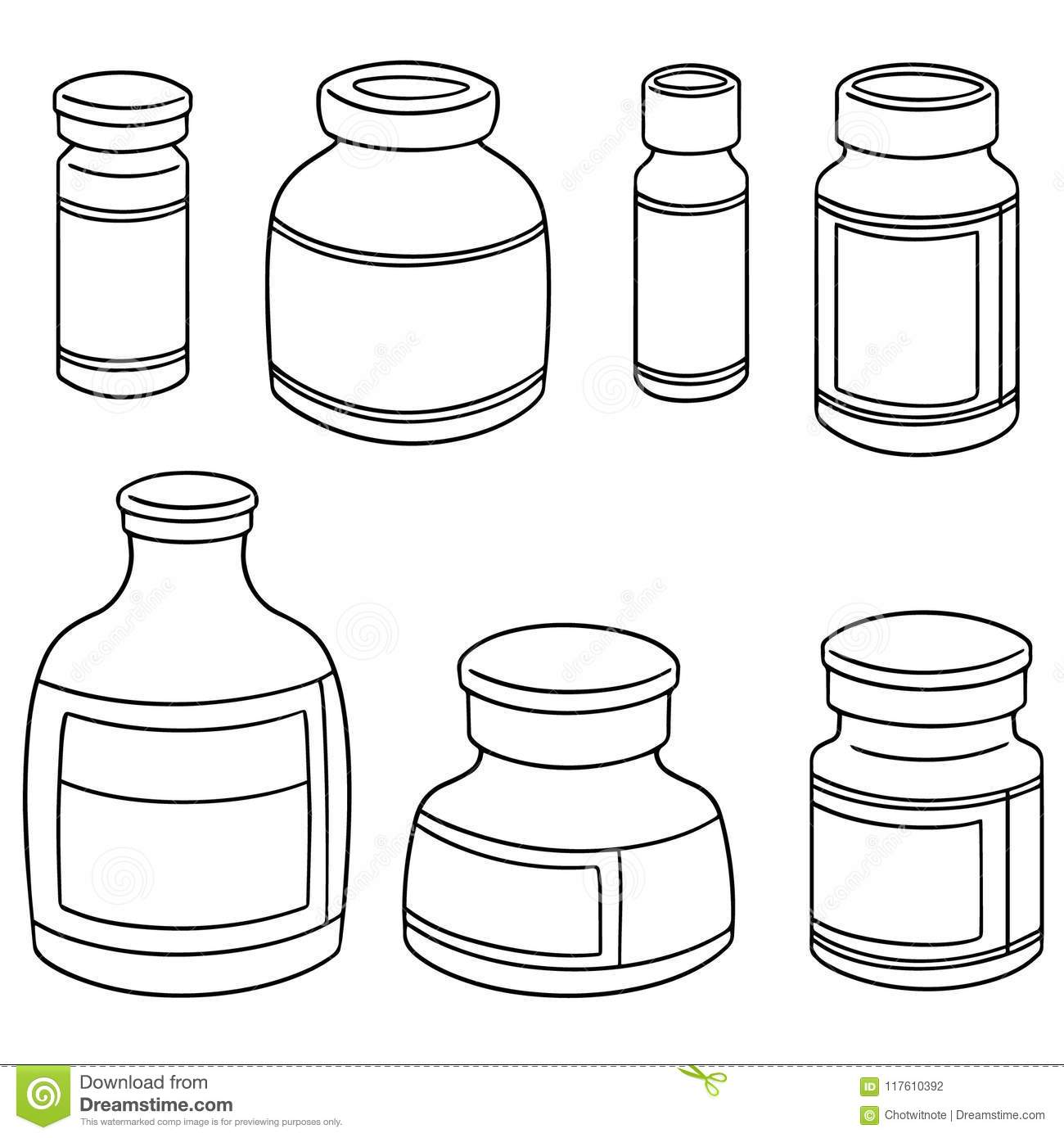 Vector Set Of Injection Medicine Vial Stock Vector