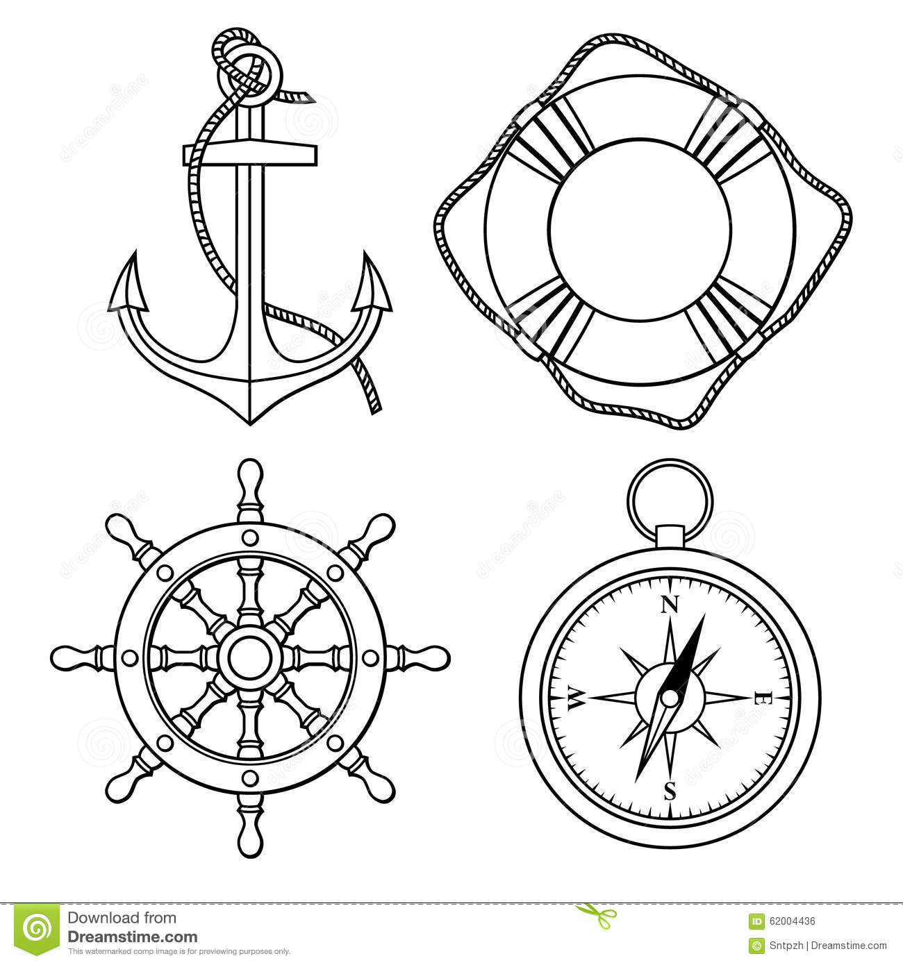 Vector Set With Isolated Anchor Lifebuoy Ships Wheel