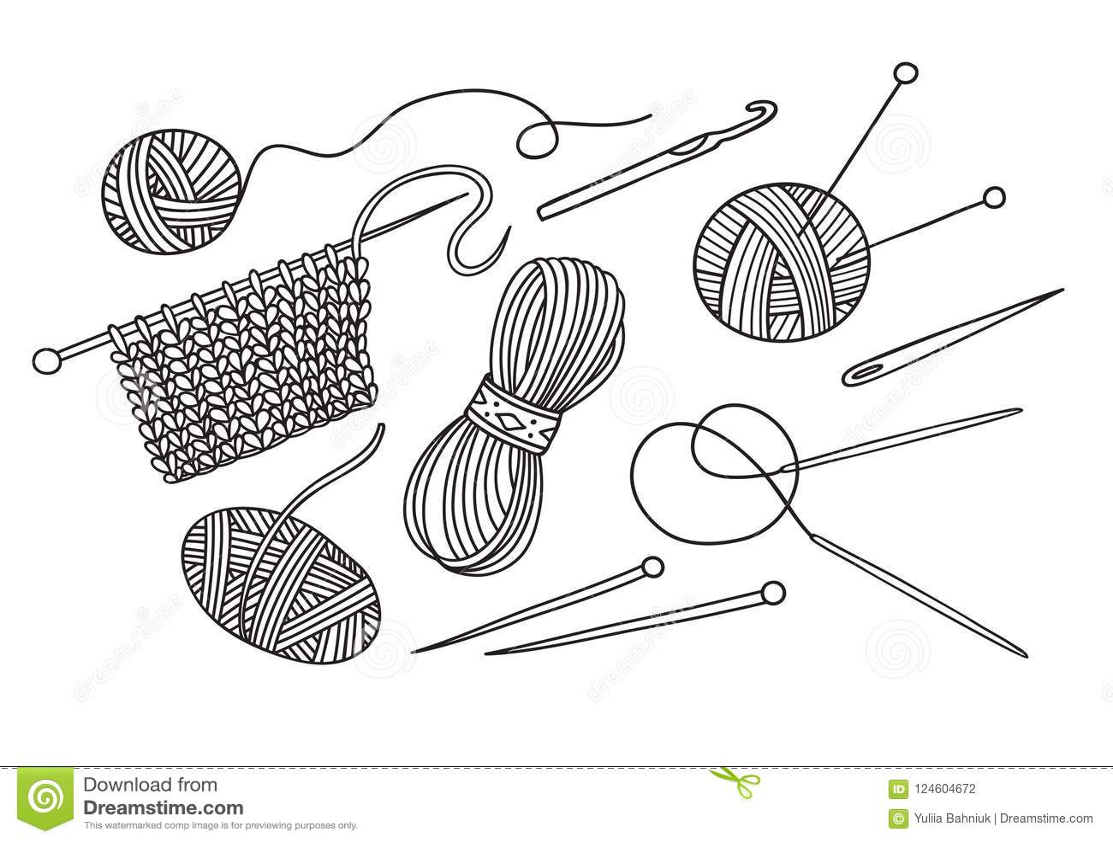 Vector Set Of Knitting Tools And Yarn Stock Vector