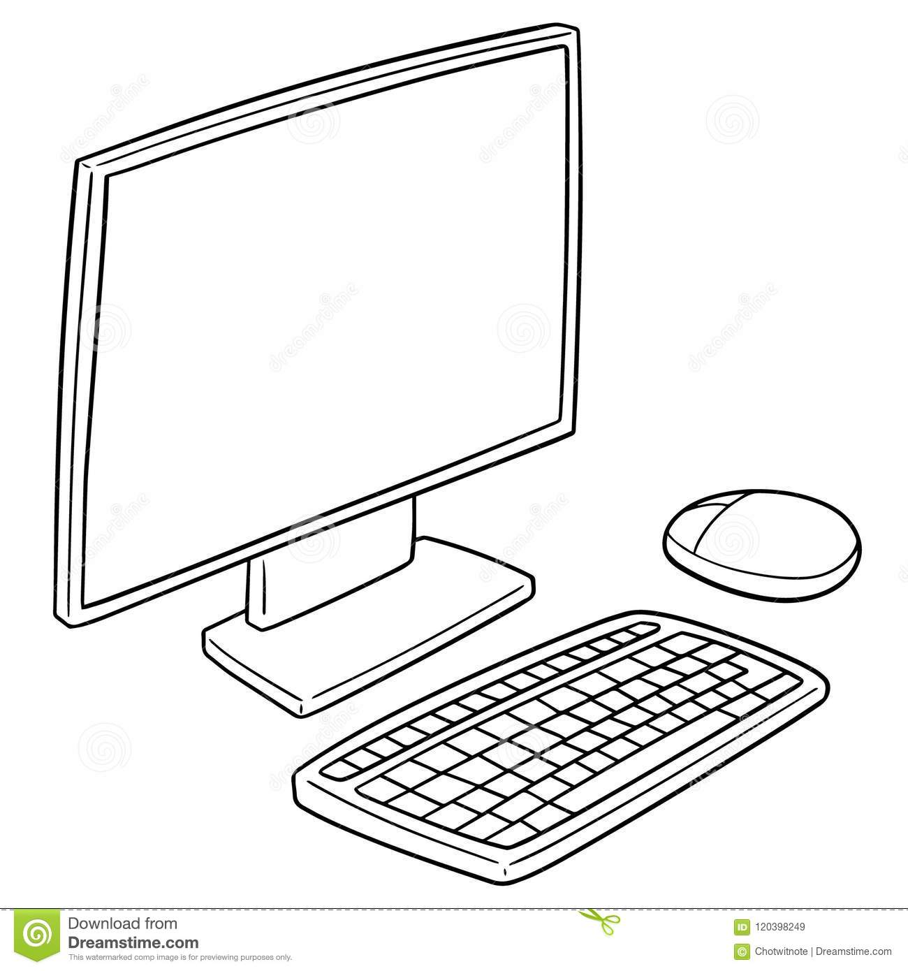 Computer Set With Monitor Mouse And Keyboard Vector