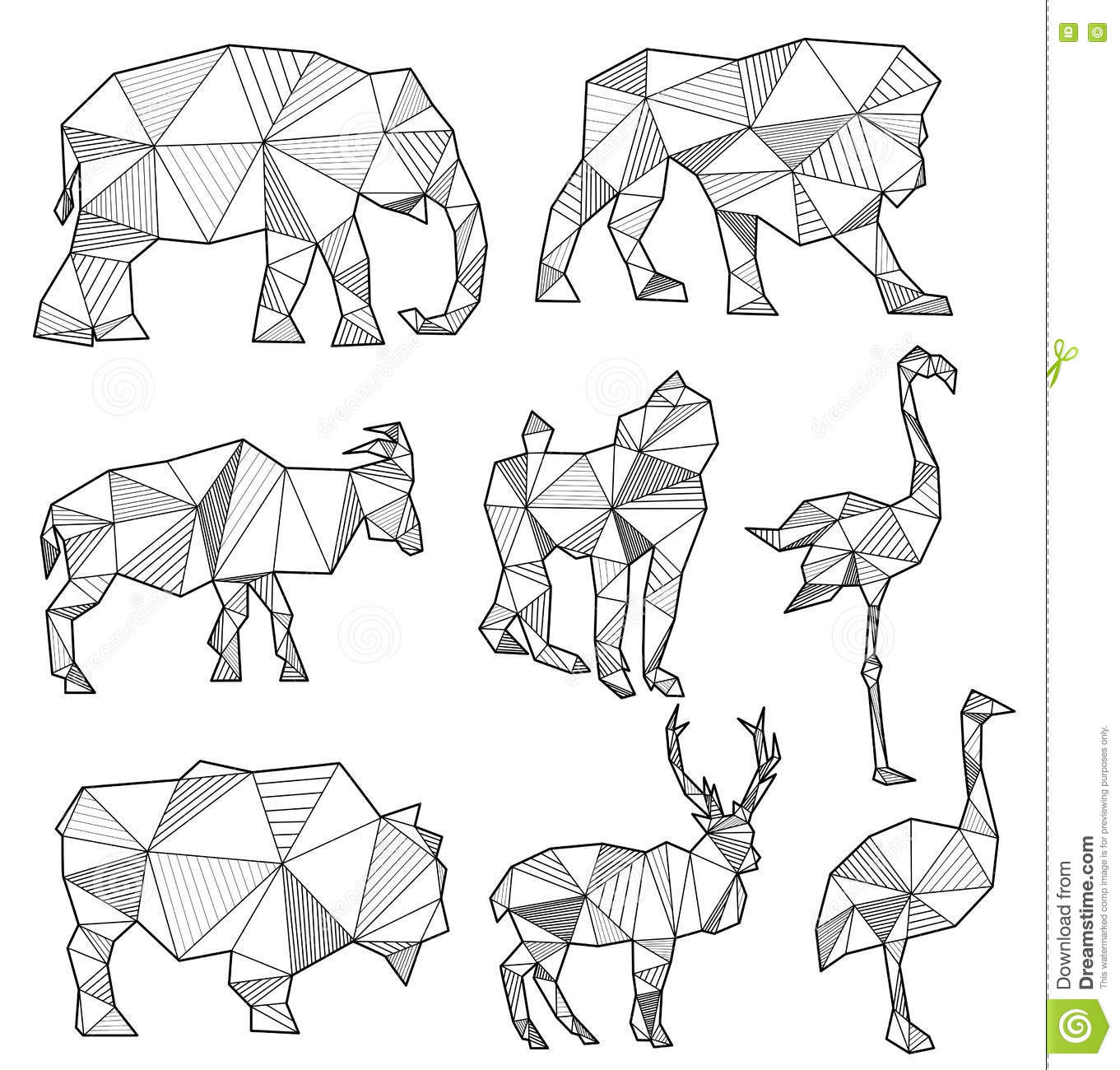 Vector Set Of Origami Animal Silhouettes Vector