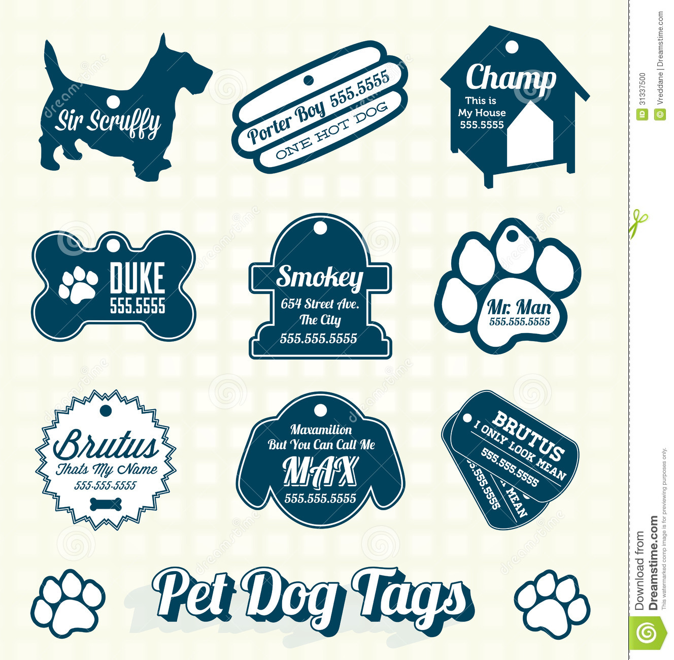 Vector Set Pet Dog Name Tag Labels Stock Vector