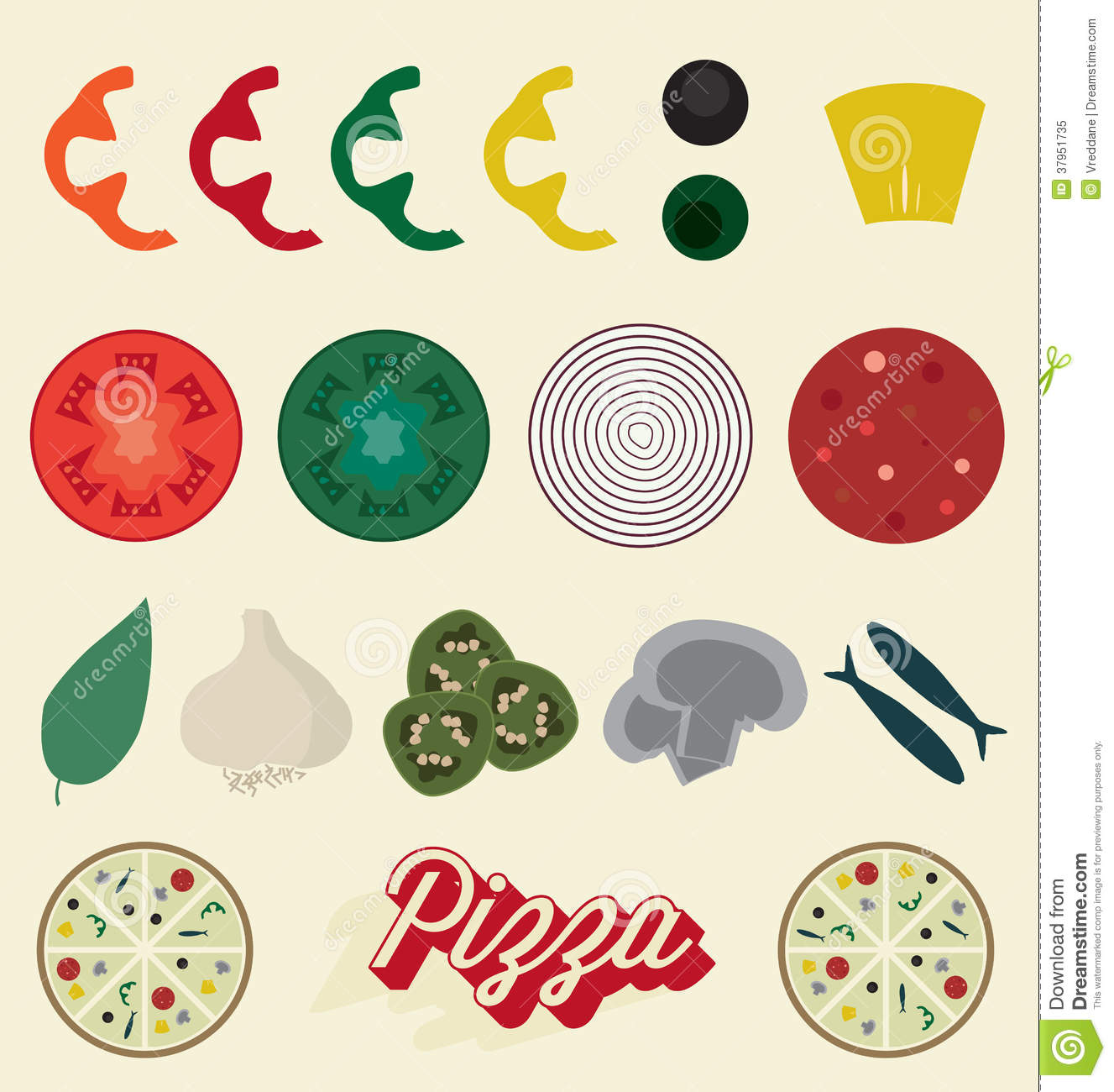 Vector Set Pizza Toppings Collection Royalty Free Stock