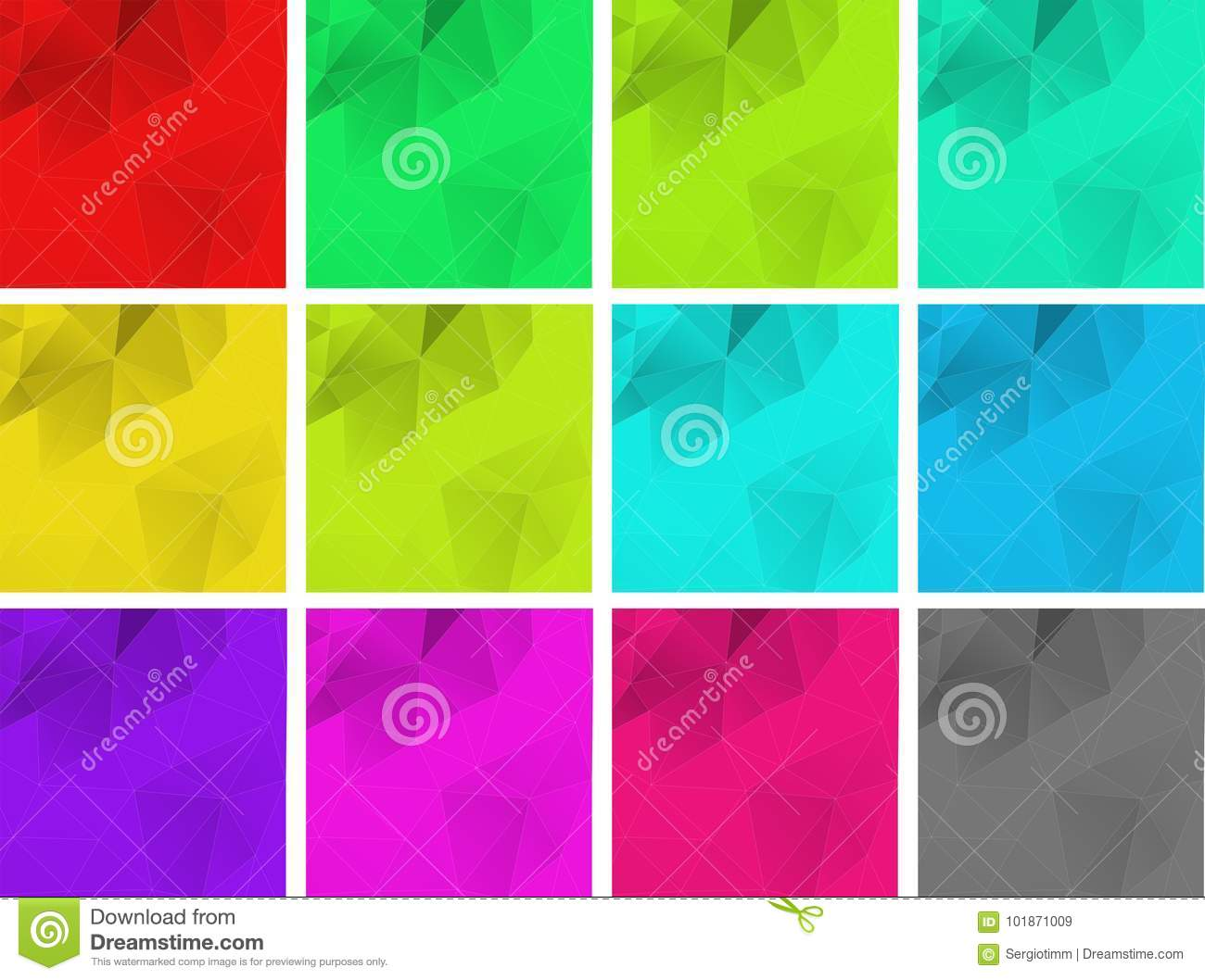 Vector Set Of Polygonal Square Gra Nt Backgrounds Of Green Blu Stock Vector